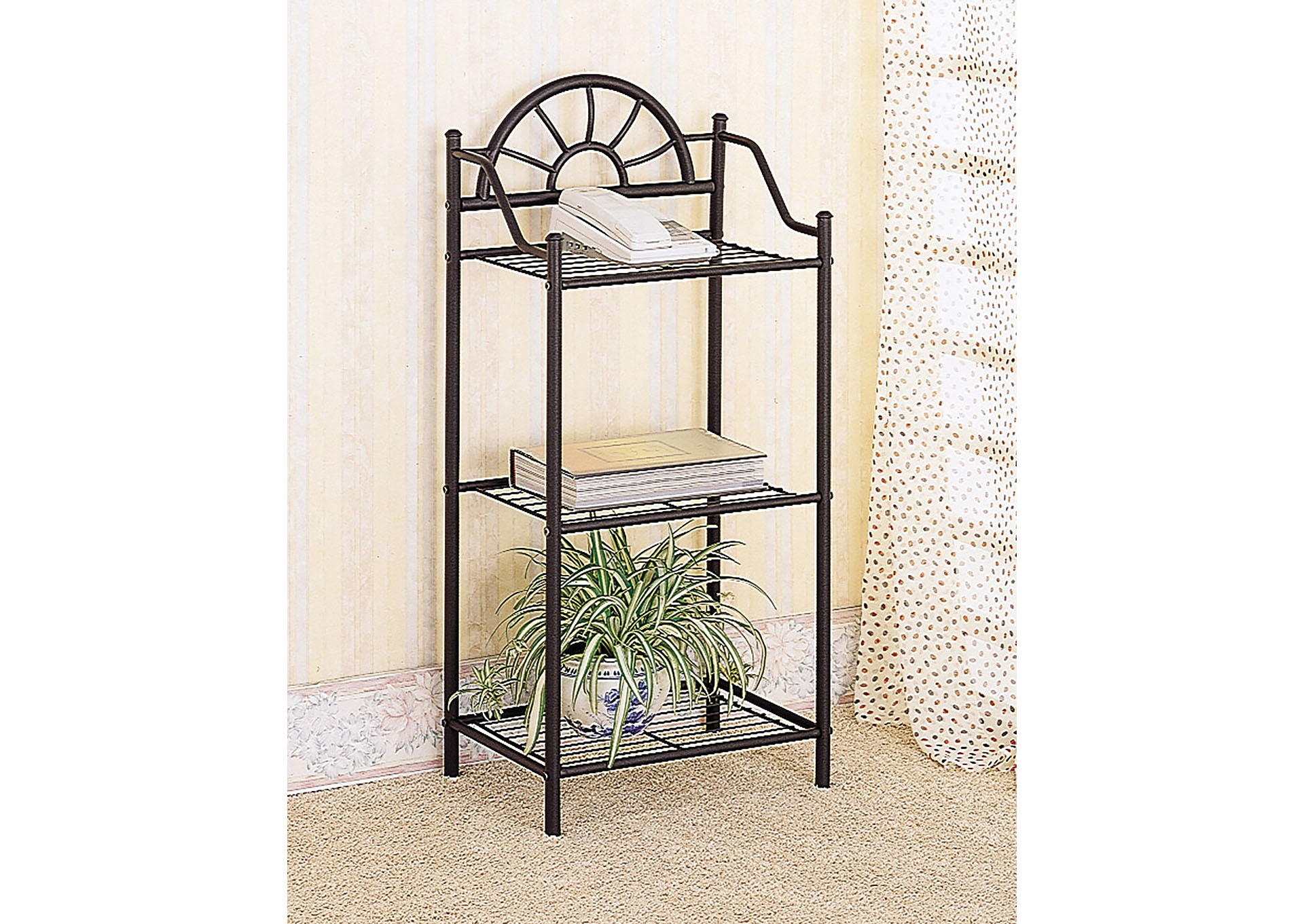 Black Traditional Three-Shelf Accent Table,Coaster Furniture