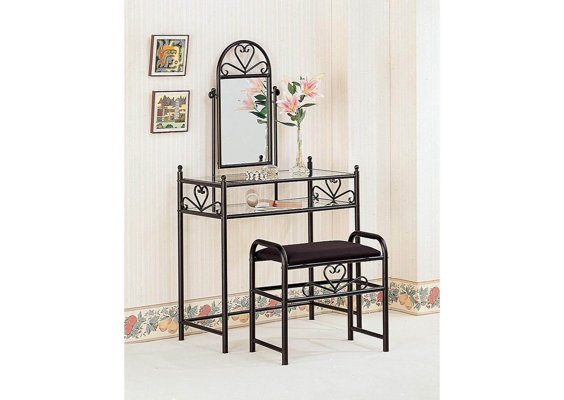 Black Vanity w/Glass Top and Fabric Stool,Coaster Furniture