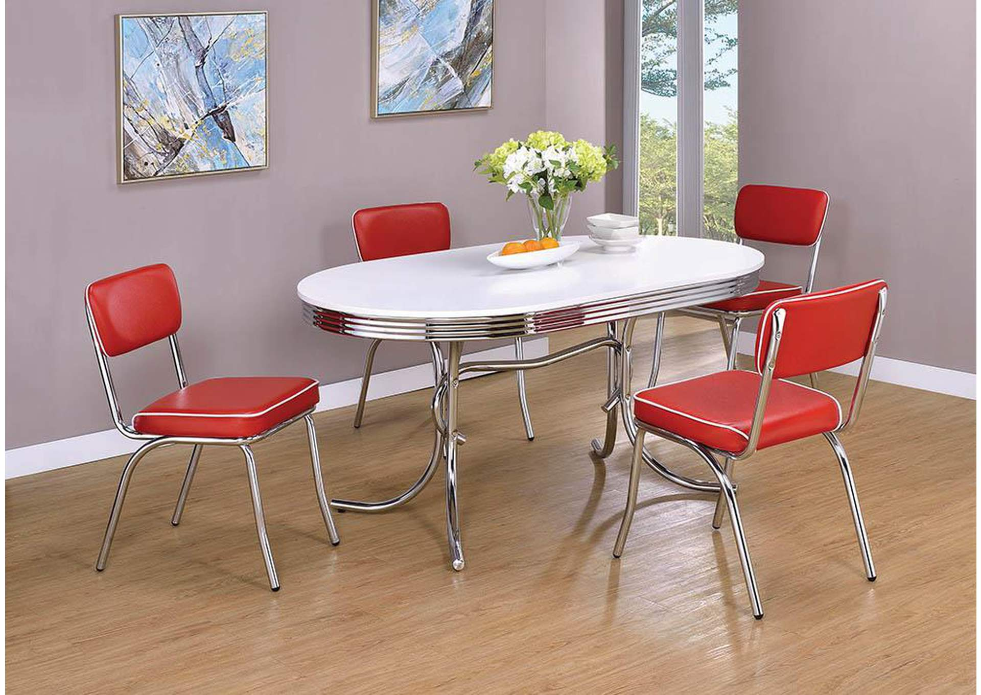 Retro Red/Chrome Plated Dining Chair (Set of 2),Coaster Furniture