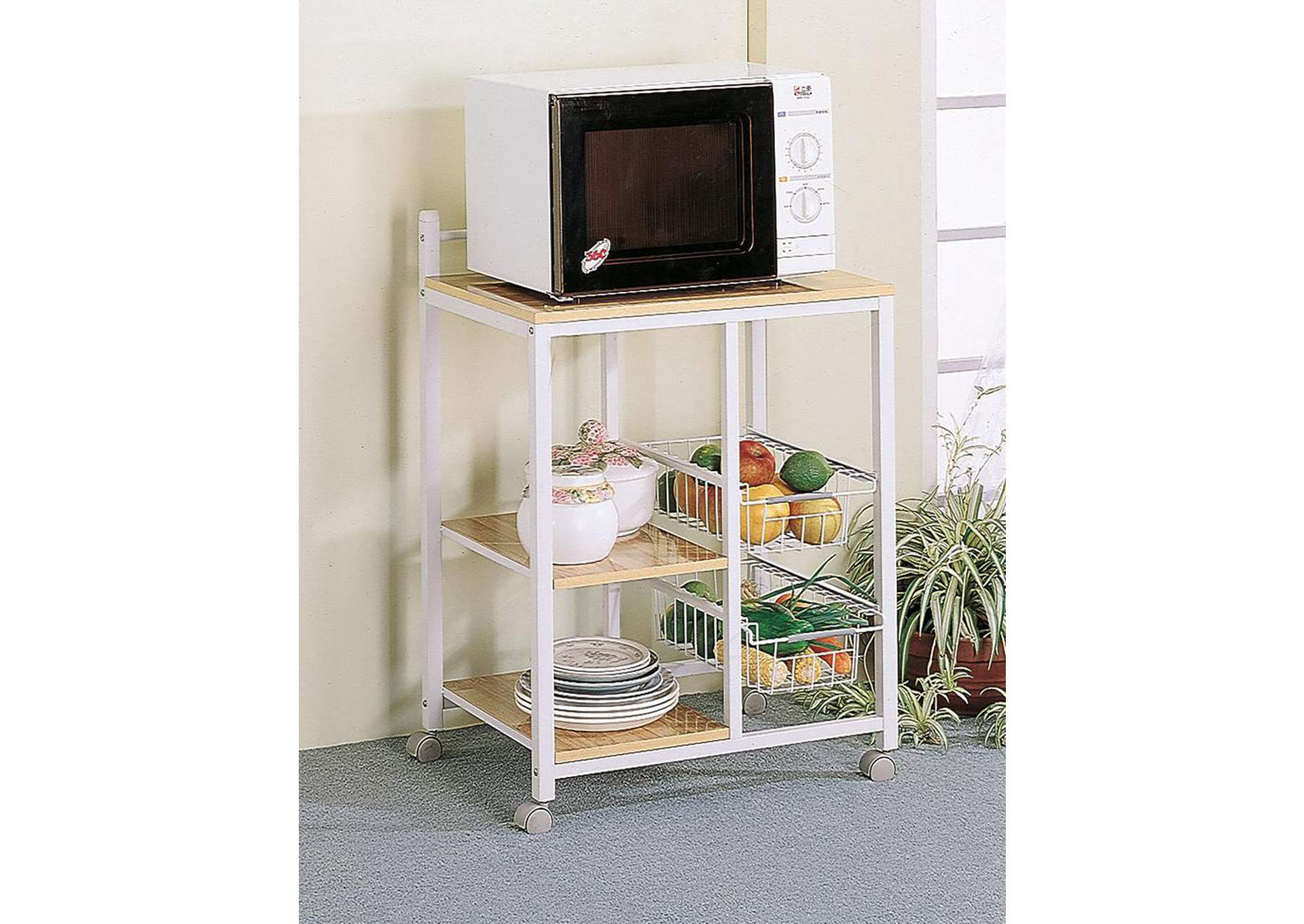 Natural Brown and White Casual Kitchen Cart,Coaster Furniture