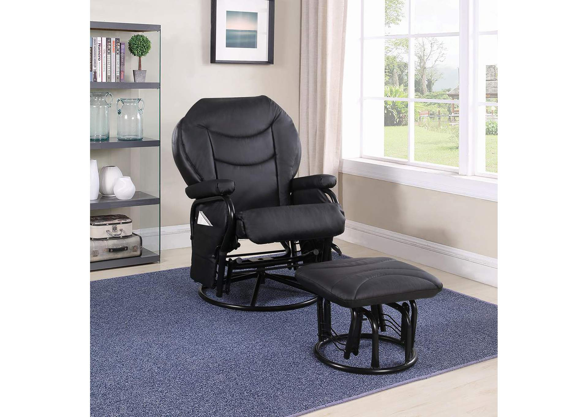 Black Glider & Ottoman,Coaster Furniture