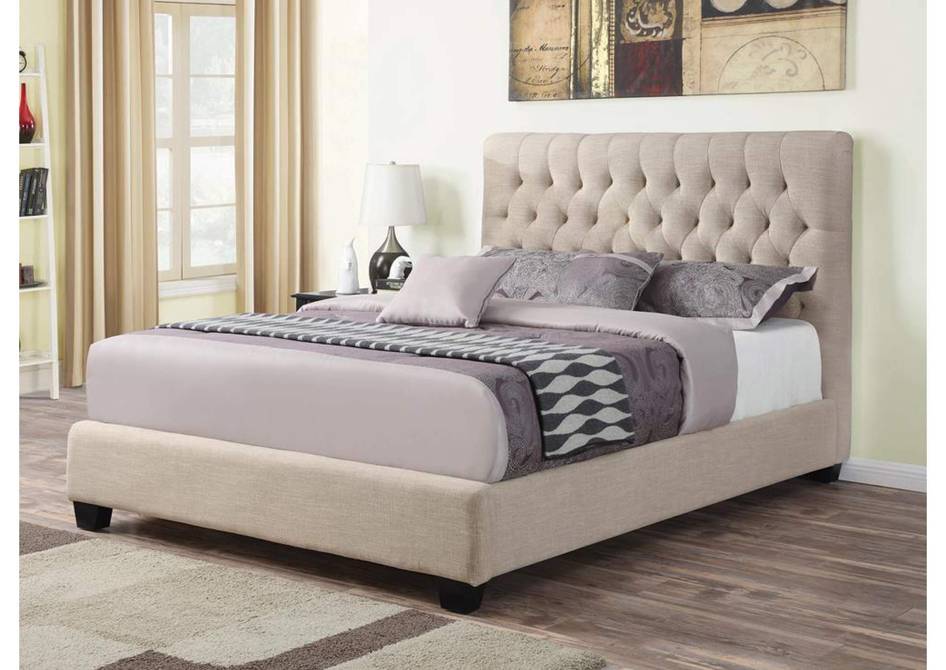 Chloe Oatmeal Upholstered Queen Bed,Coaster Furniture