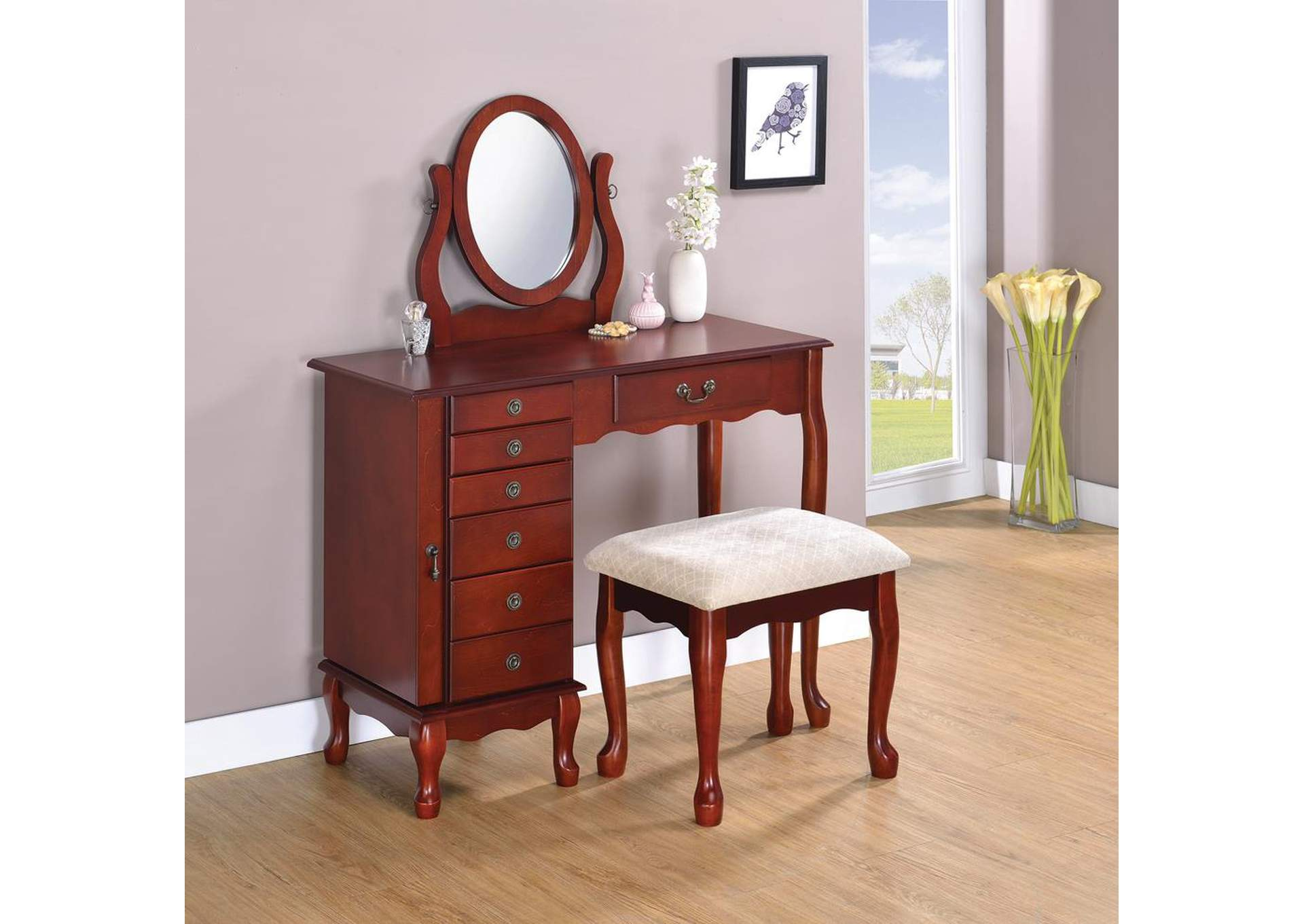 Cream & Cherry Vanity & Stool Set,Coaster Furniture