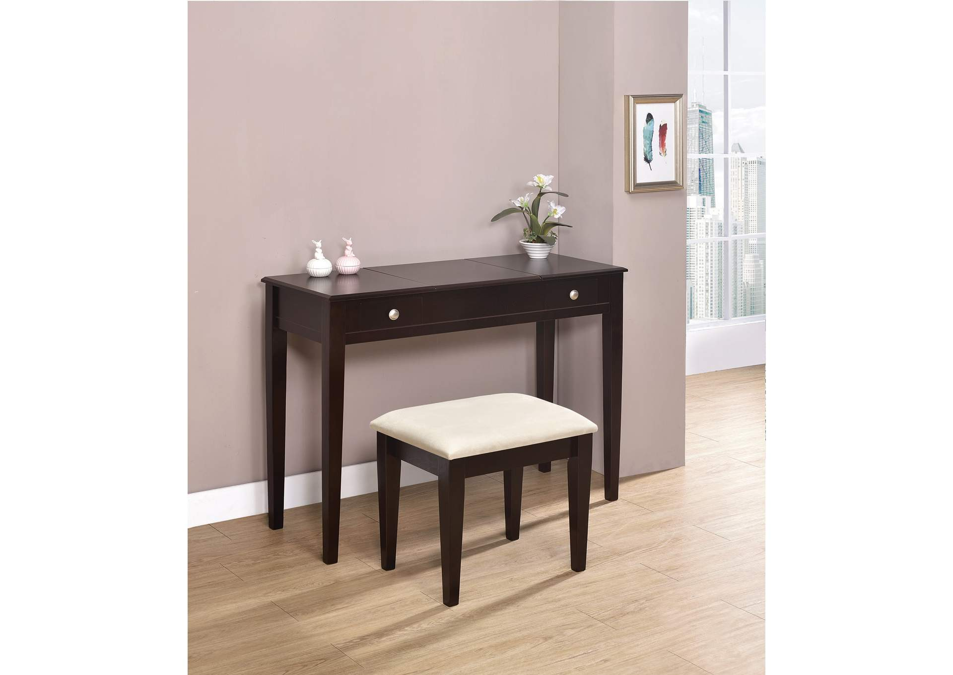 Espresso Vanity and Bench,Coaster Furniture
