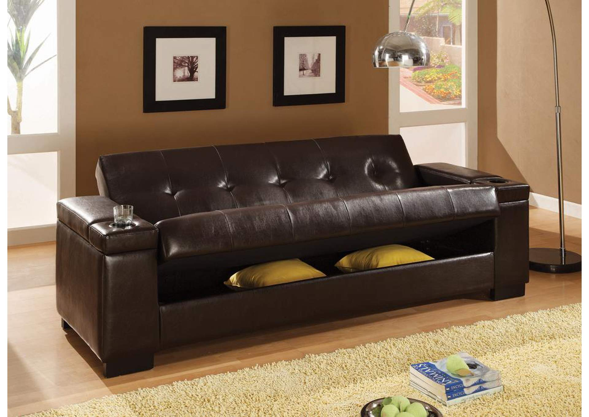 Bordelon\'s Home Furnishings Dark Brown Sofa Bed