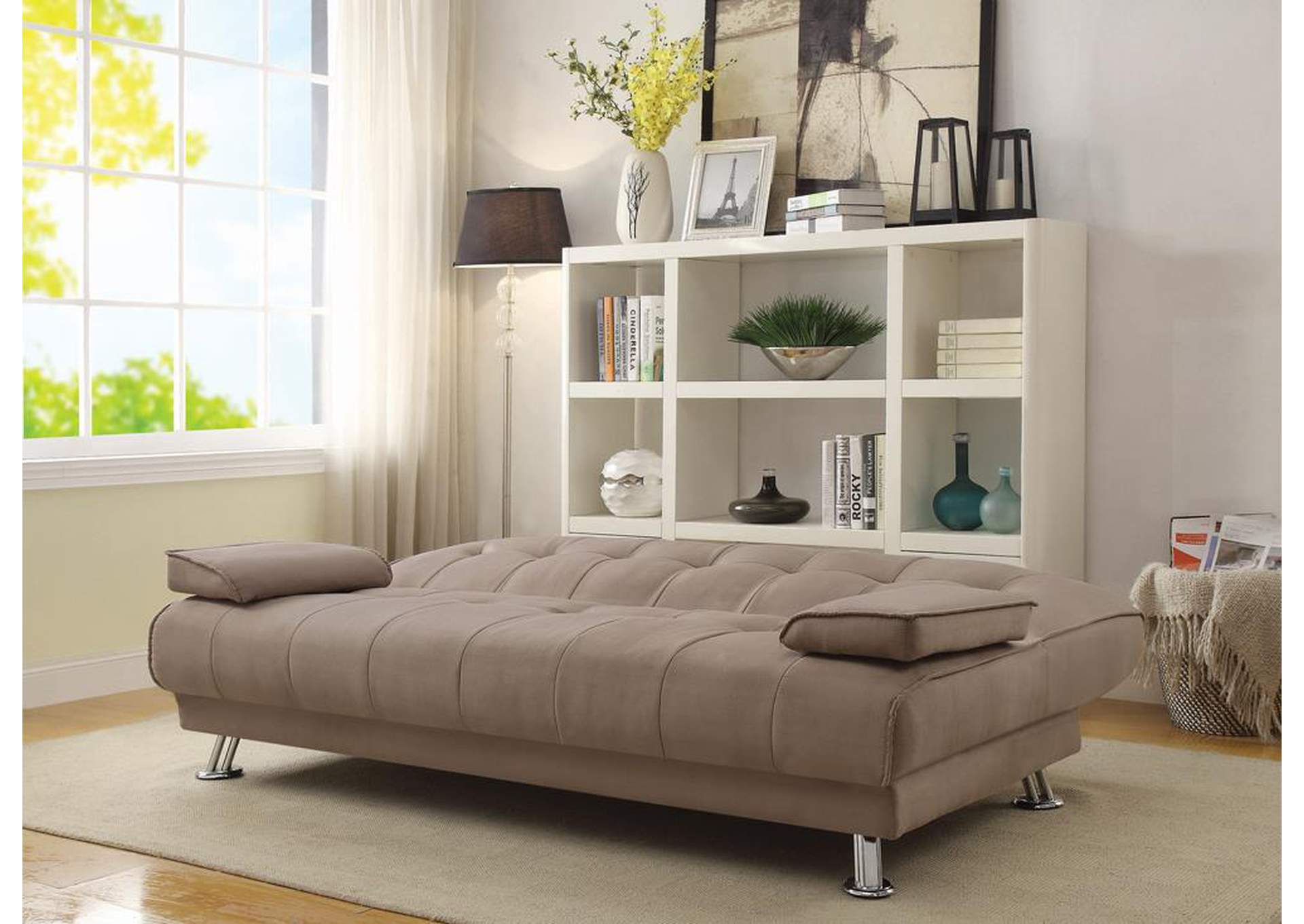 Tan microfiber sofa bedcoaster furniture