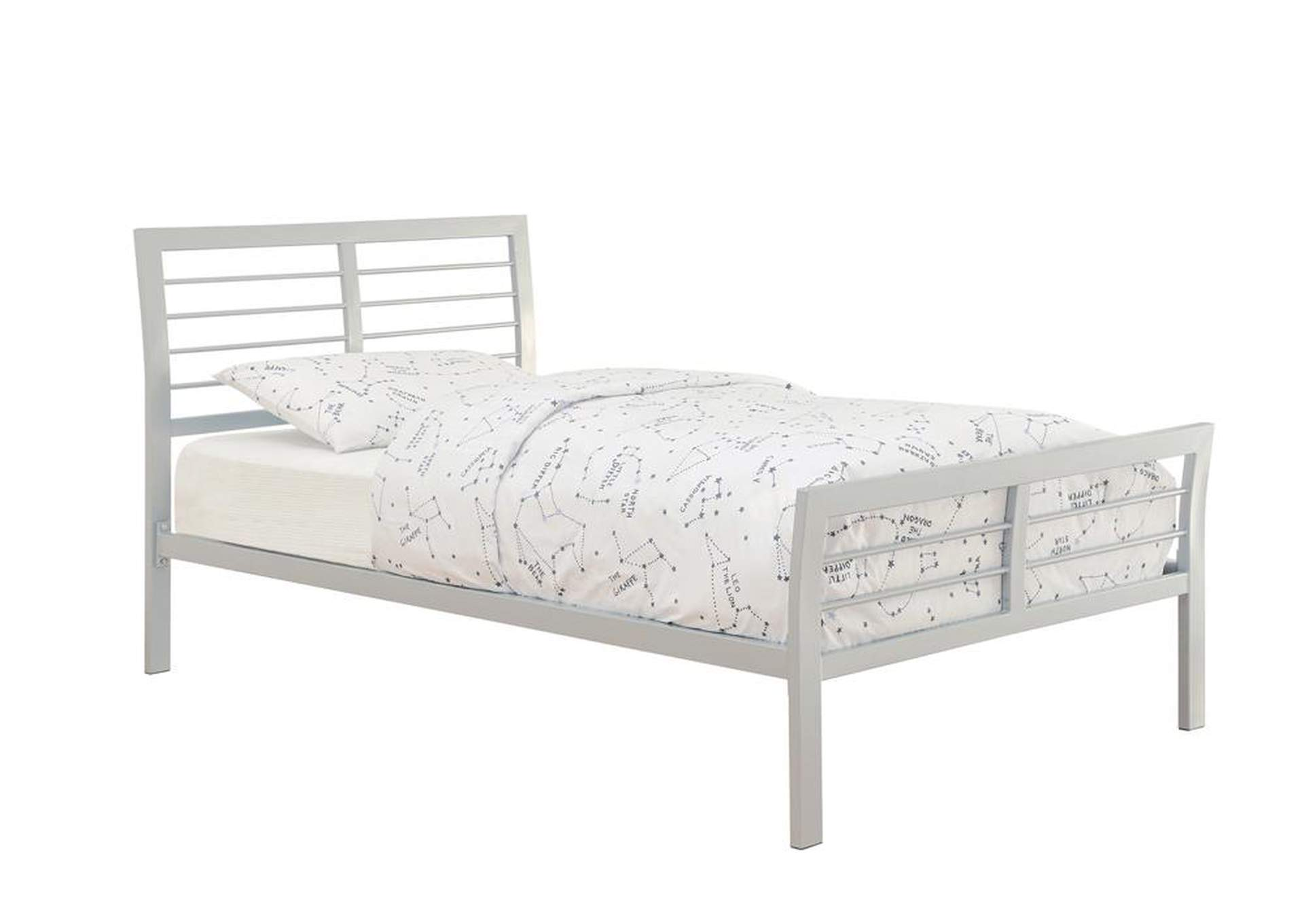 Gallery Cooper Contemporary Silver Metal Twin Bed,Coaster Furniture