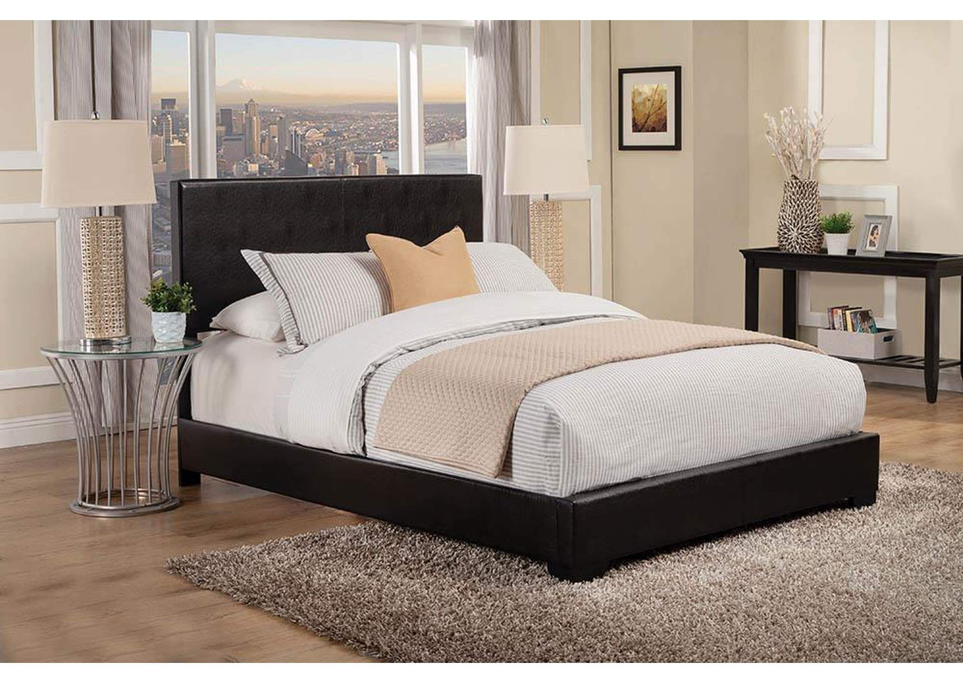 Conner Black Upholstered Queen Platform Bed,Coaster Furniture