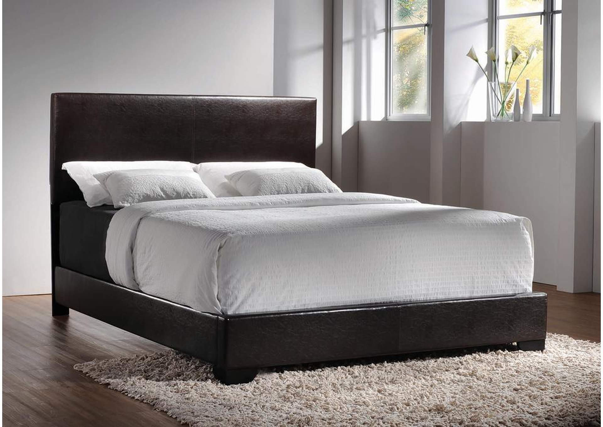 Conner Dark Brown Upholstered Queen Platform Bed,Coaster Furniture