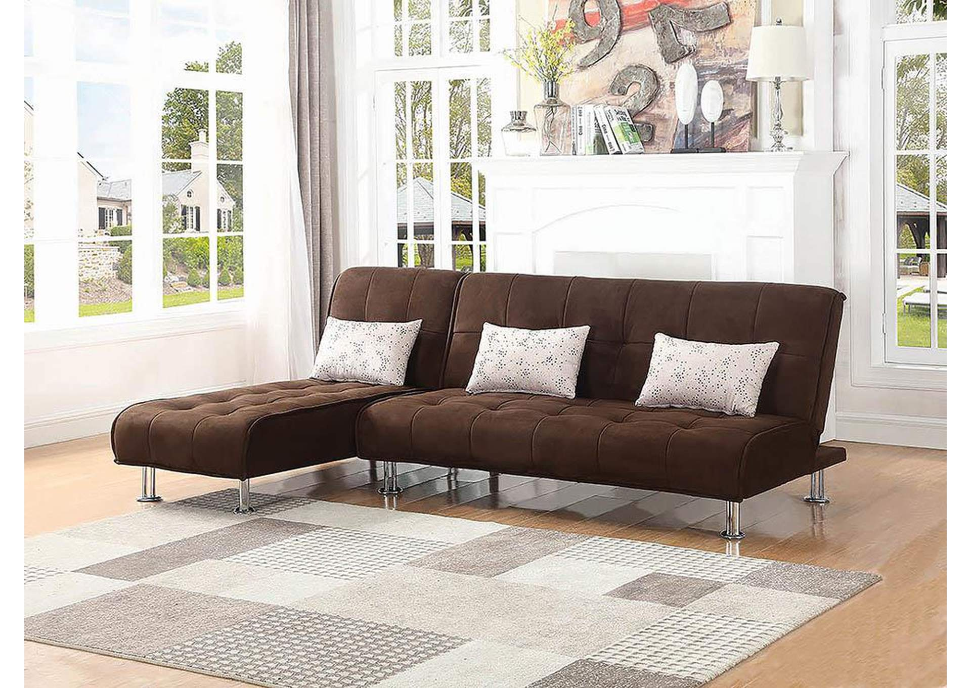 Brown Chaise Sofa Bed,Coaster Furniture