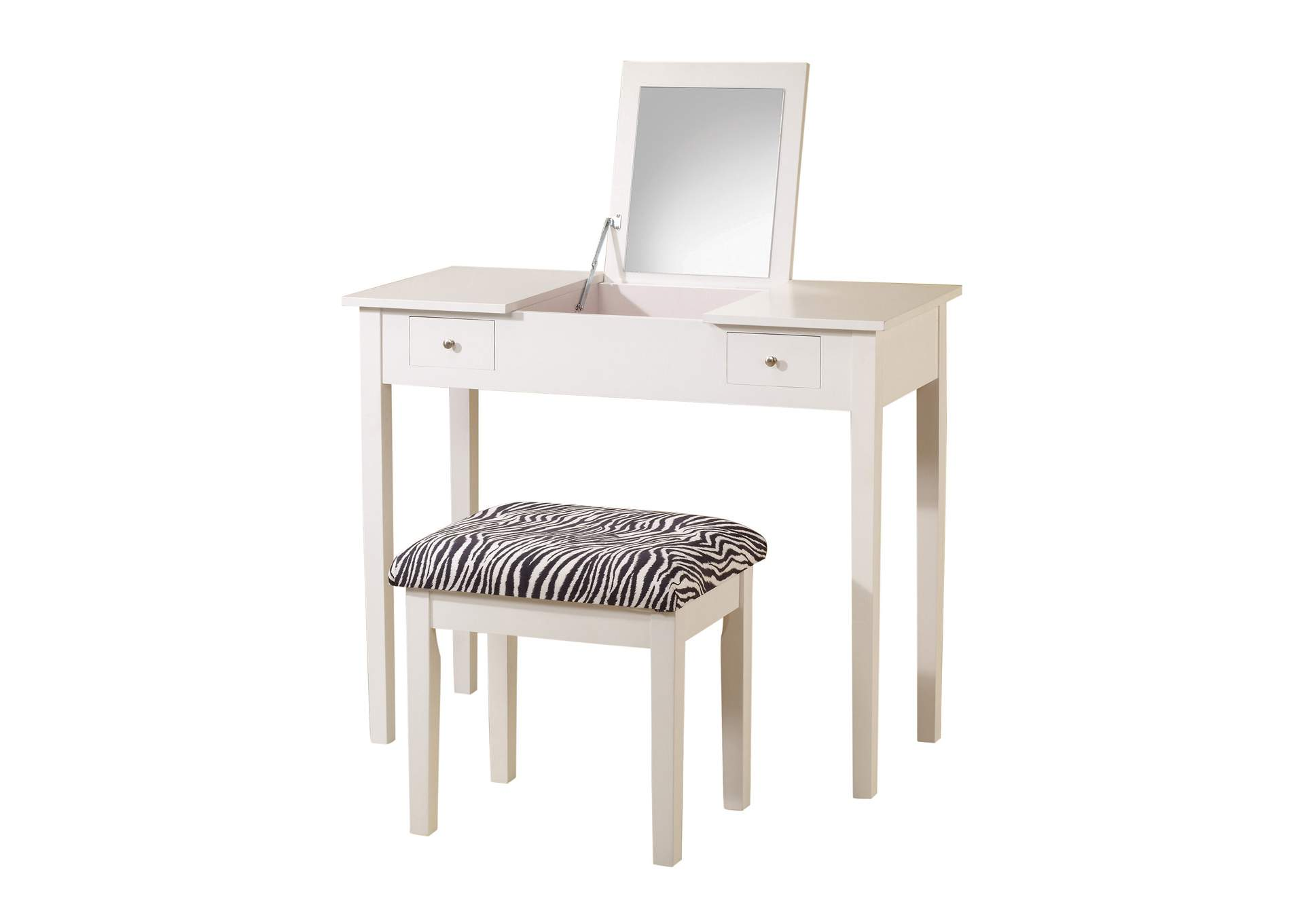 Ebb Casual White Vanity and Upholstered Stool,Coaster Furniture