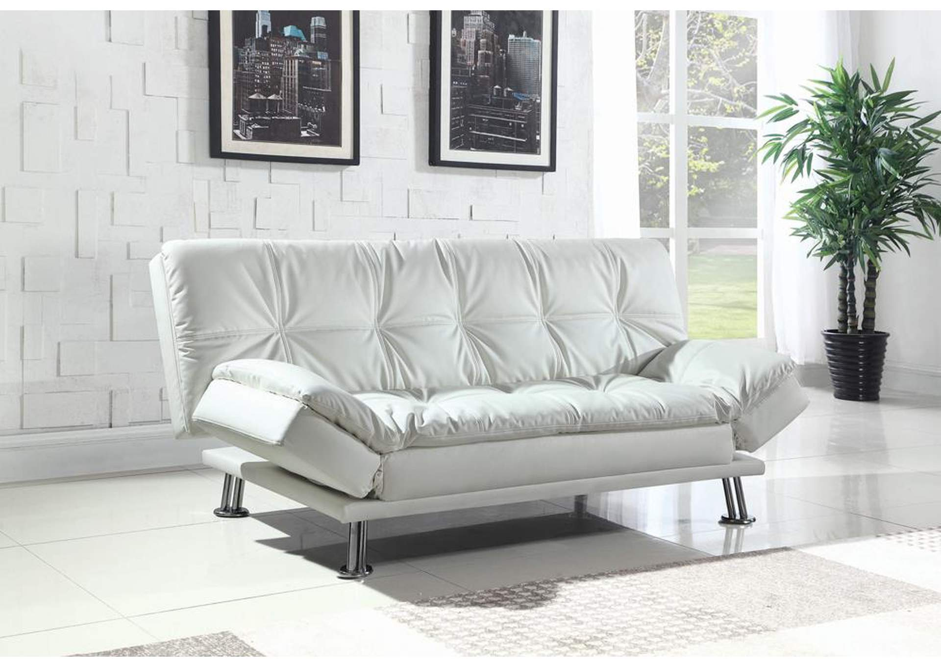 Mr. Discount Furniture - Chicago, IL White Sofa Bed & Ottoman