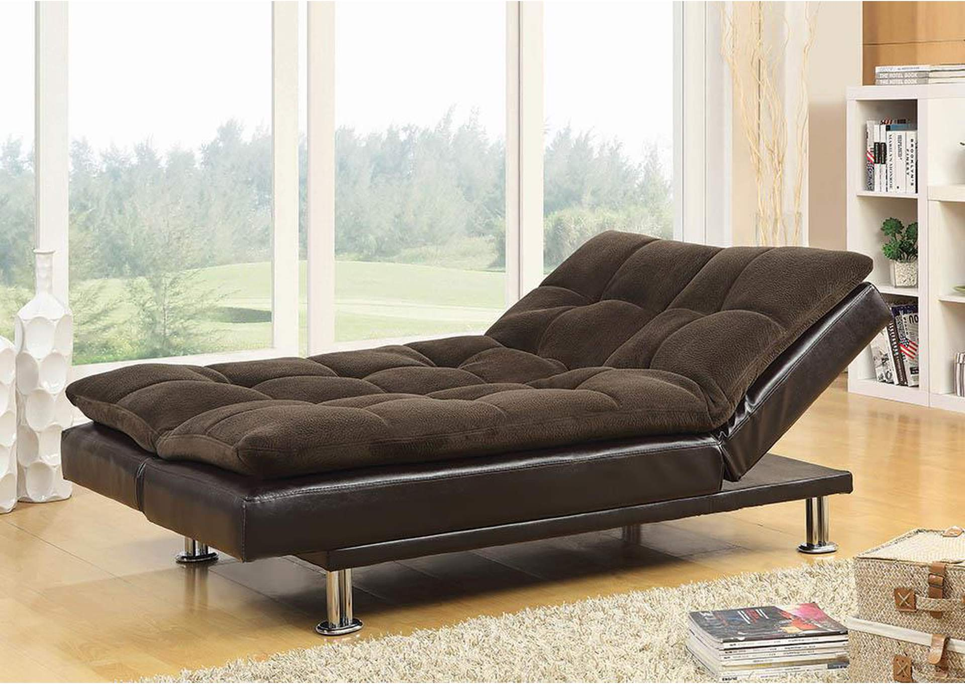 Superb Parkview Furniture Overstuffed Brown Chrome Sofa Bed Machost Co Dining Chair Design Ideas Machostcouk