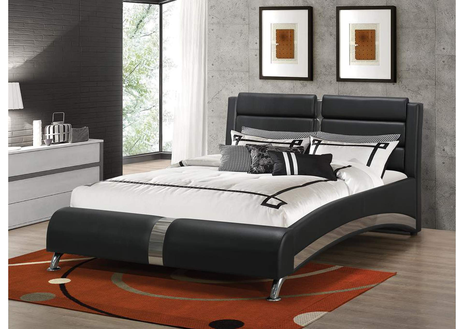 Black Queen Upholstered Bed,Coaster Furniture