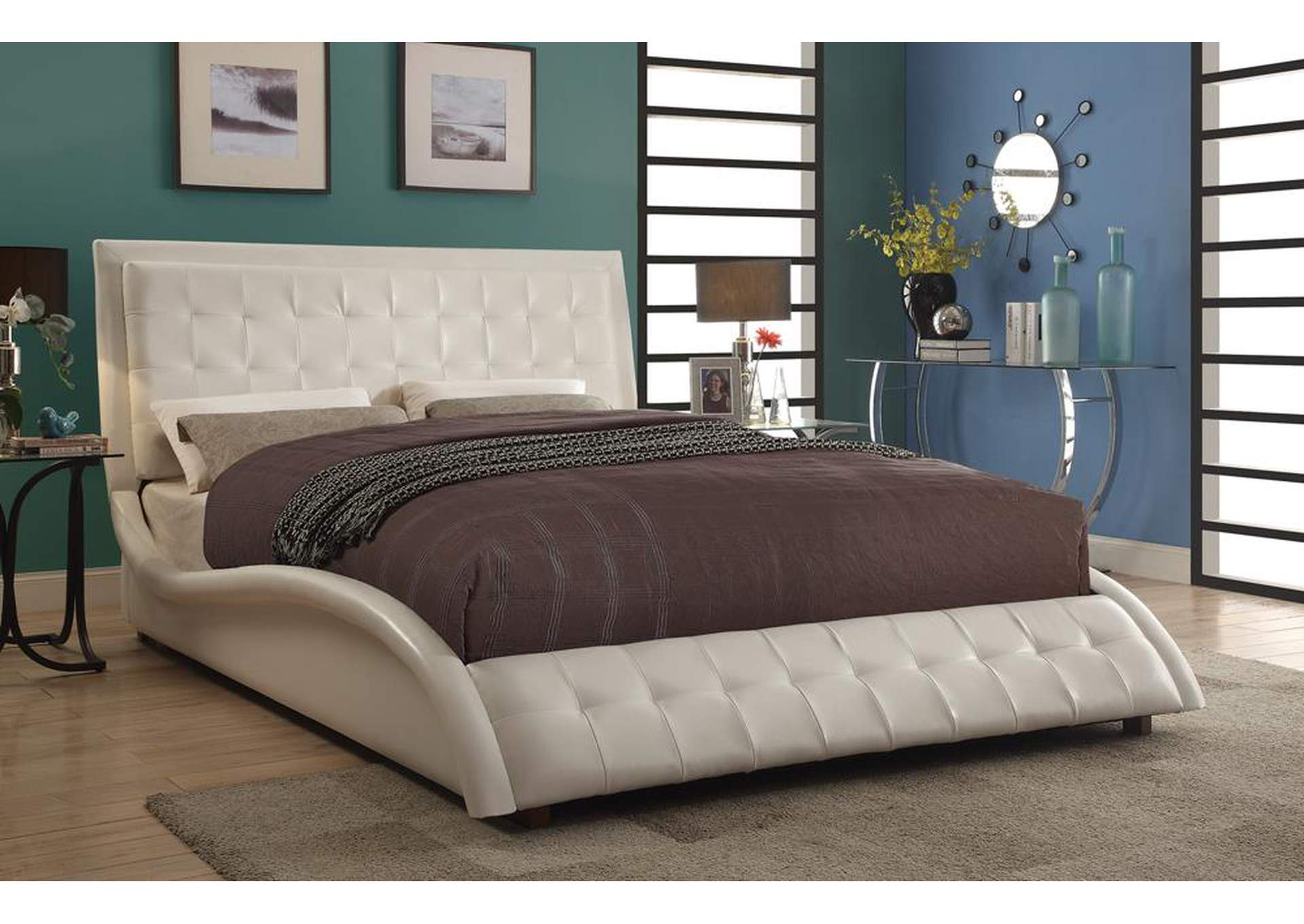 Tully White Upholstered Queen Bed,Coaster Furniture