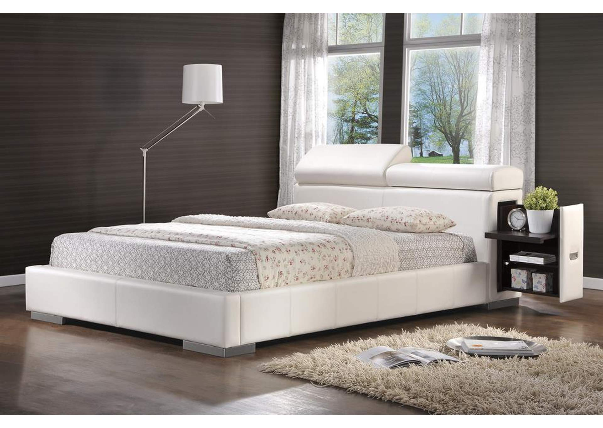 Maxine White Upholstered Queen Bed,Coaster Furniture