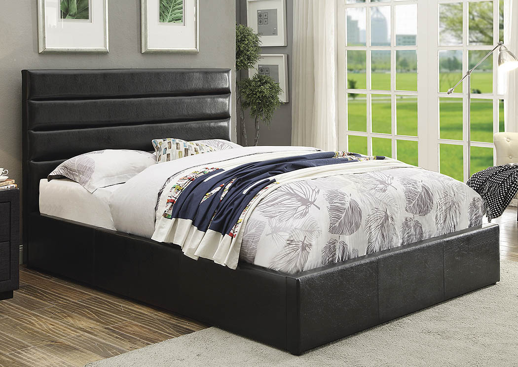 Riverbend Black Upholstered Storage Queen Bed,Coaster Furniture