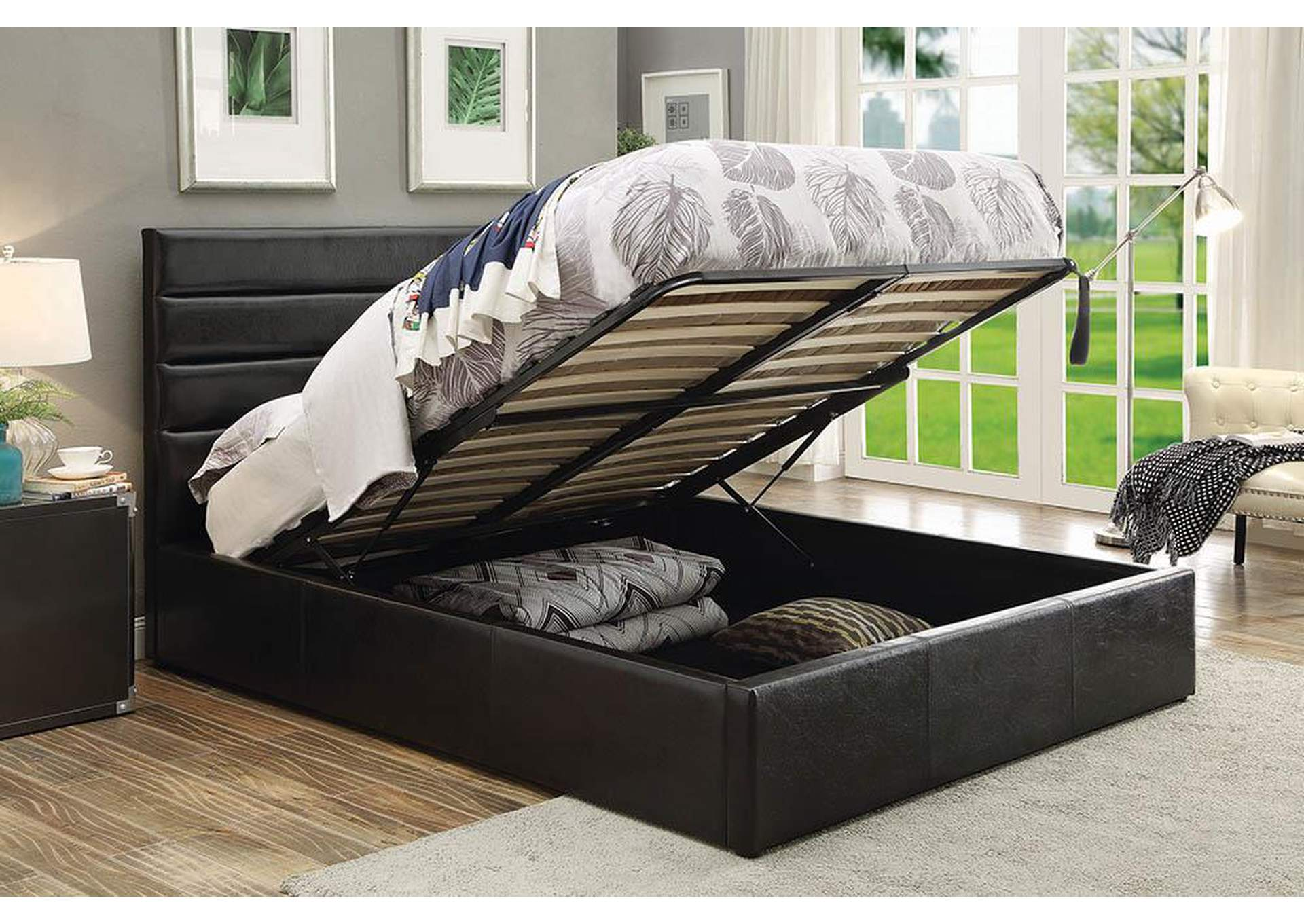 Riverbend Black Queen Upholstered Storage Bed,Coaster Furniture