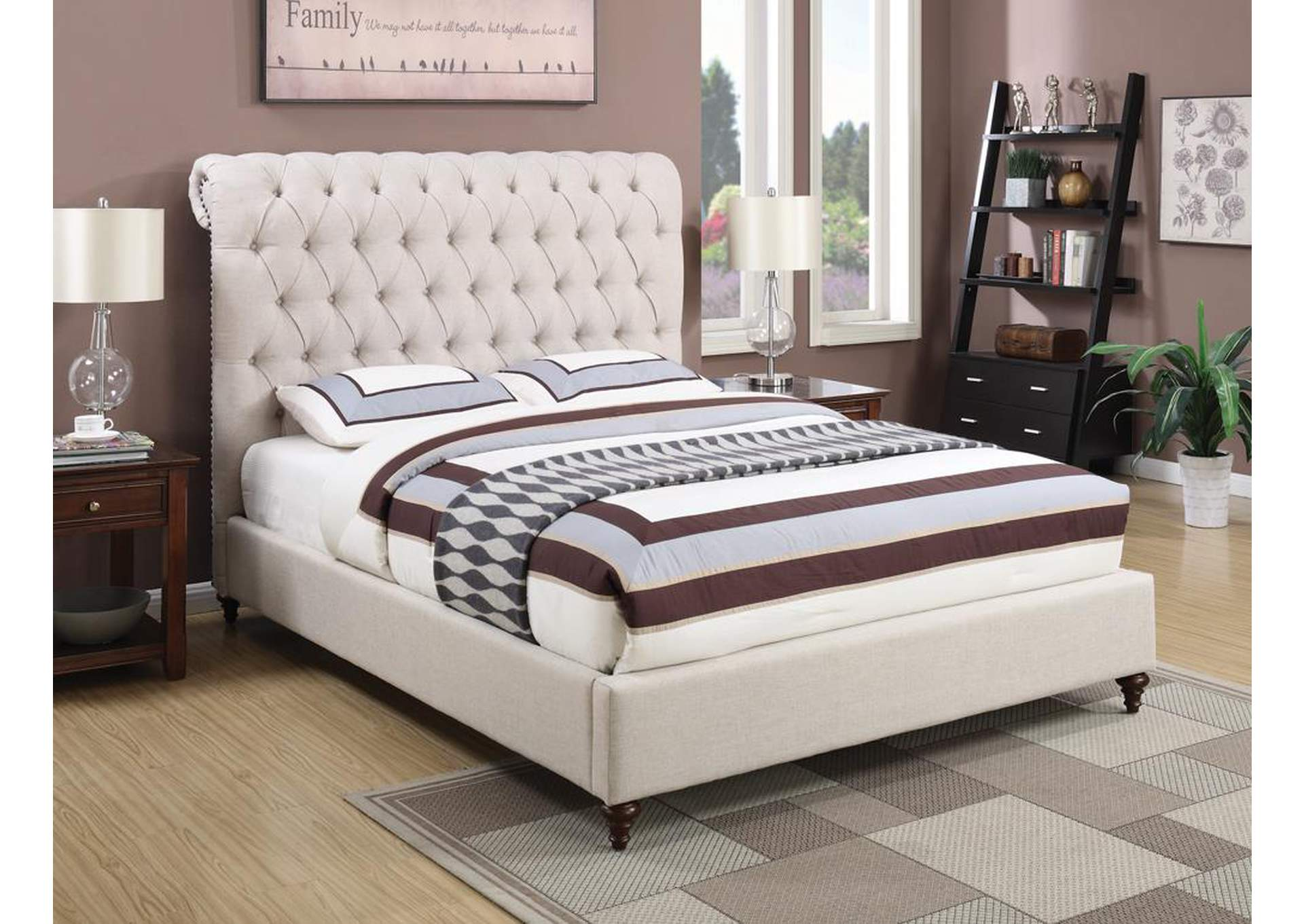 Devon Beige Queen Upholstered Sleigh Bed,Coaster Furniture