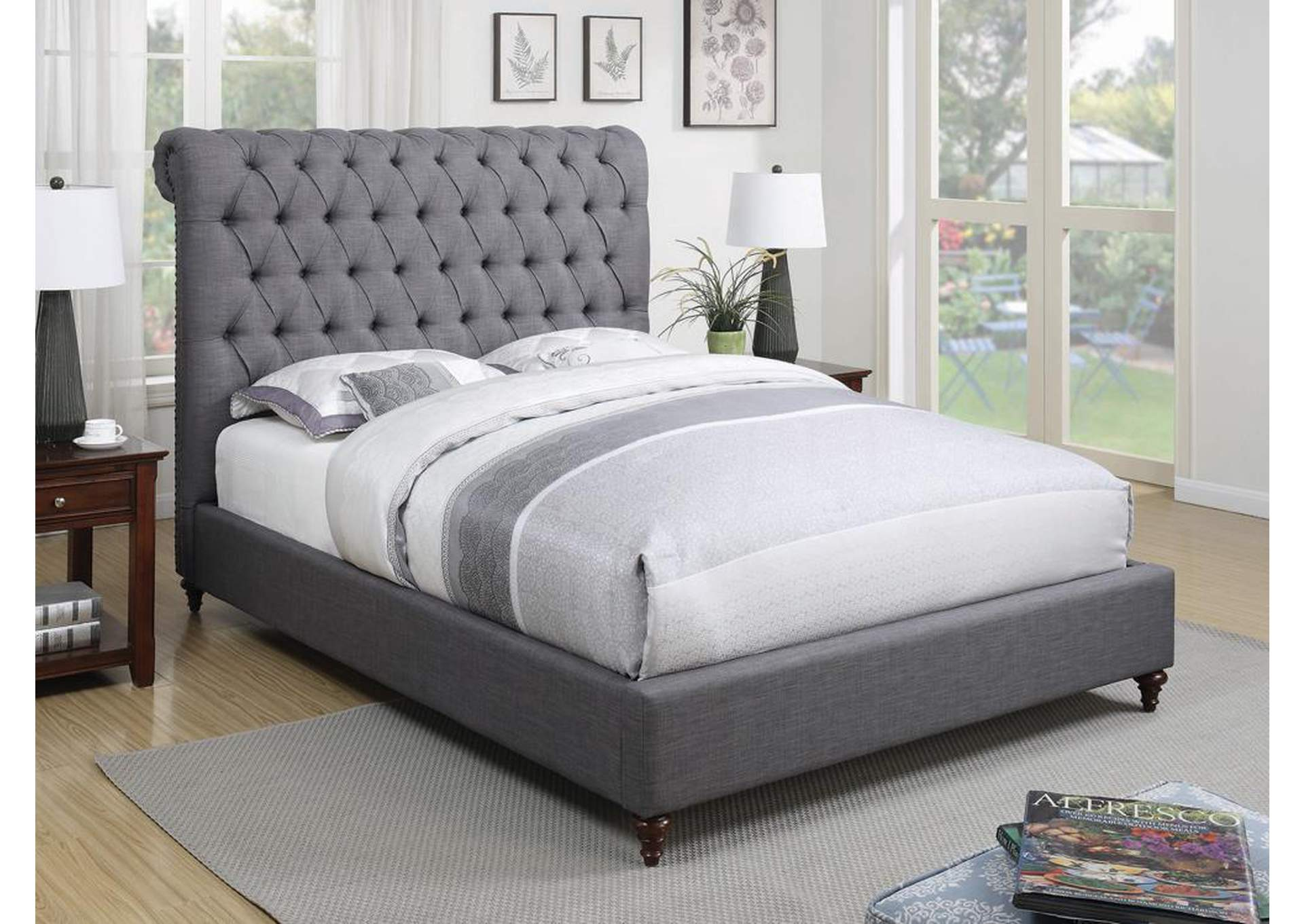 Devon Gray Upholstered Sleigh Full Bed,Coaster Furniture