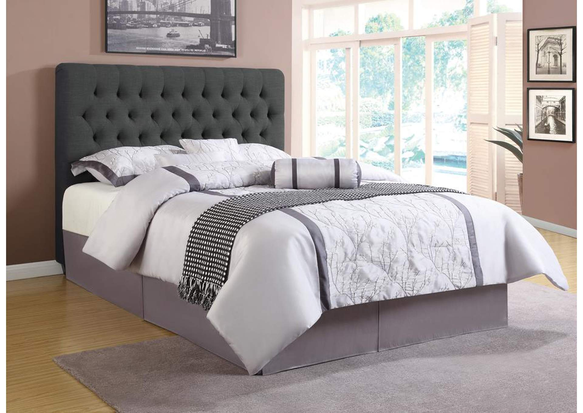 Chloe Charcoal Upholstered Full Bed,Coaster Furniture