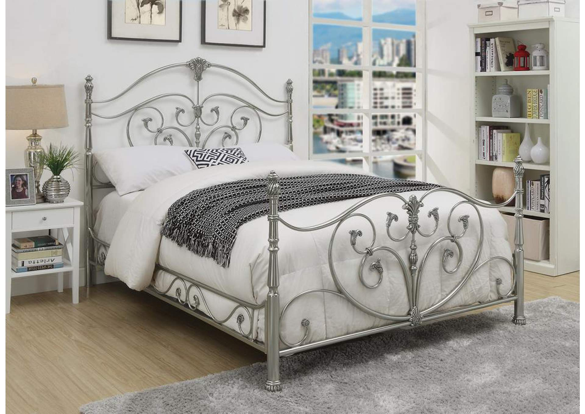 Evita Silver Metal Queen Poster Bed,Coaster Furniture