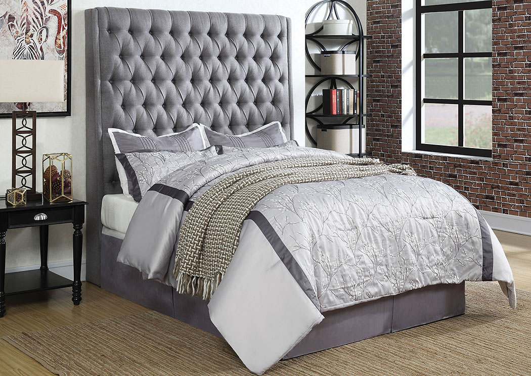 Camille Gray Queen Upholstered/Platform Bed,Coaster Furniture