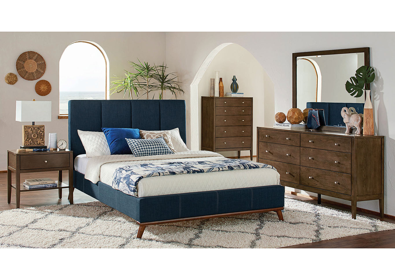 Charity Blue Ash Brown Upholstered Twin 5 Piece Bedroom Set R J