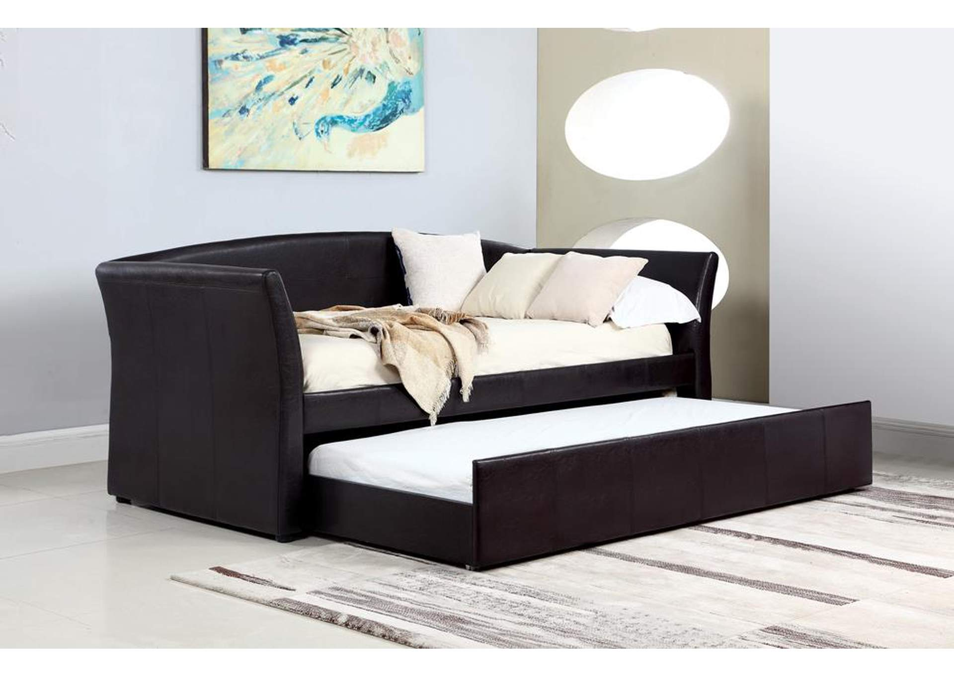 Charmant Dark Brown Upholstered Daybed,Coaster Furniture