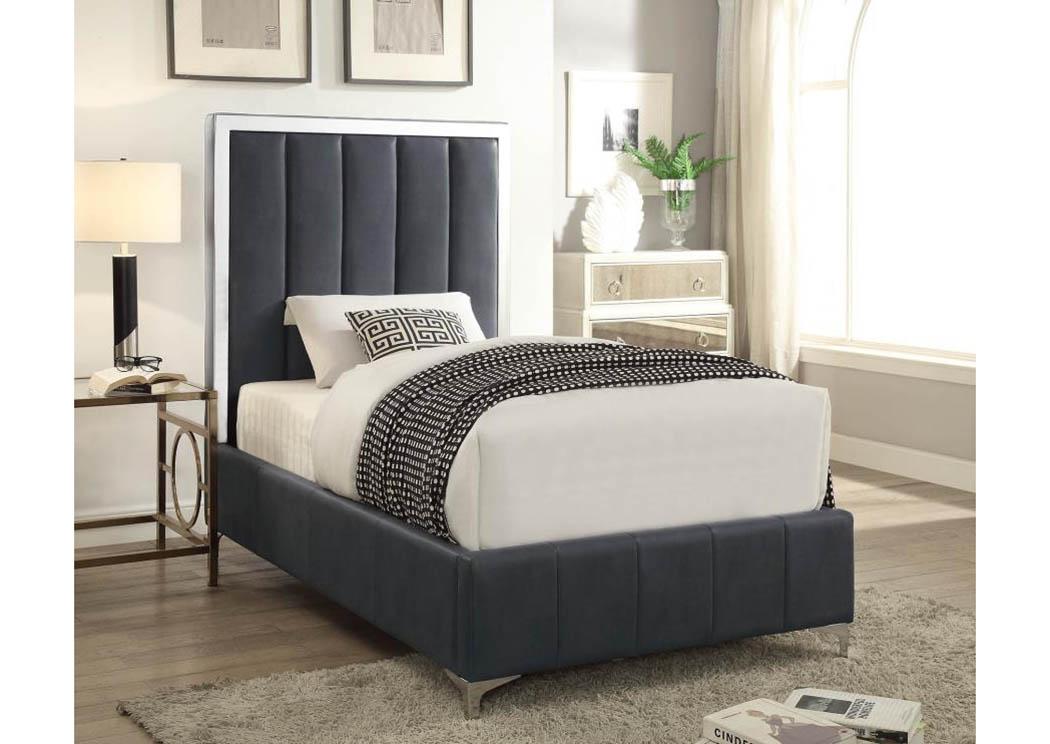 Dark Gray Upholstered U0026 Stainless Steel Twin Platform Bed,Coaster Furniture