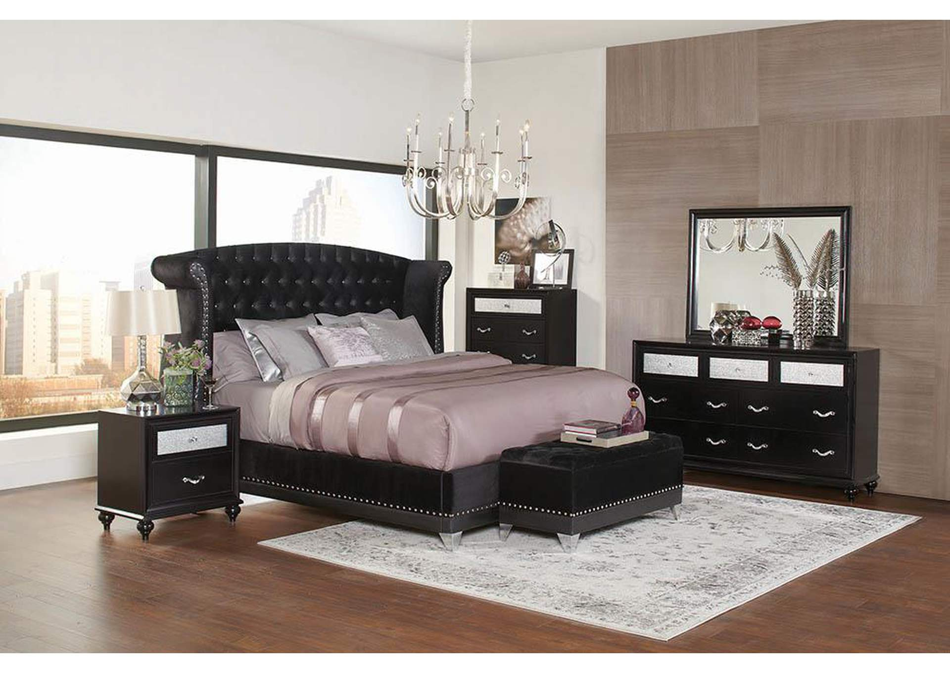 Barzini Black Upholstered Queen Bed,Coaster Furniture