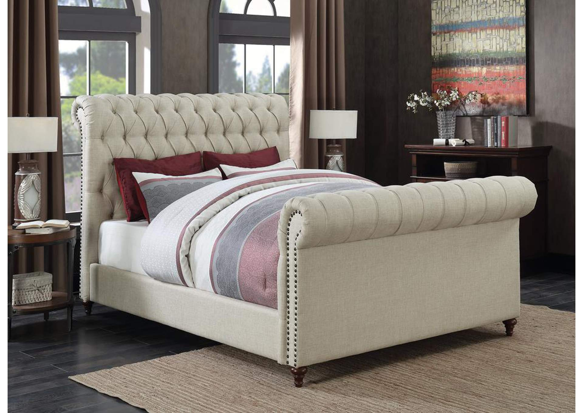 Beige Upholstered Queen Sleigh Bed,Coaster Furniture