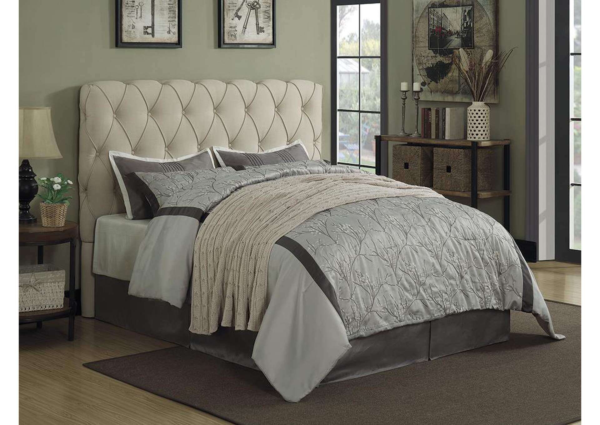 Elsinore Beige Upholstered Queen Platform Bed,Coaster Furniture