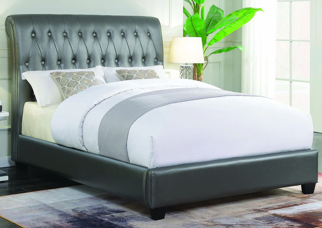 Metallic Charcoal Upholstered Twin Bed,Coaster Furniture