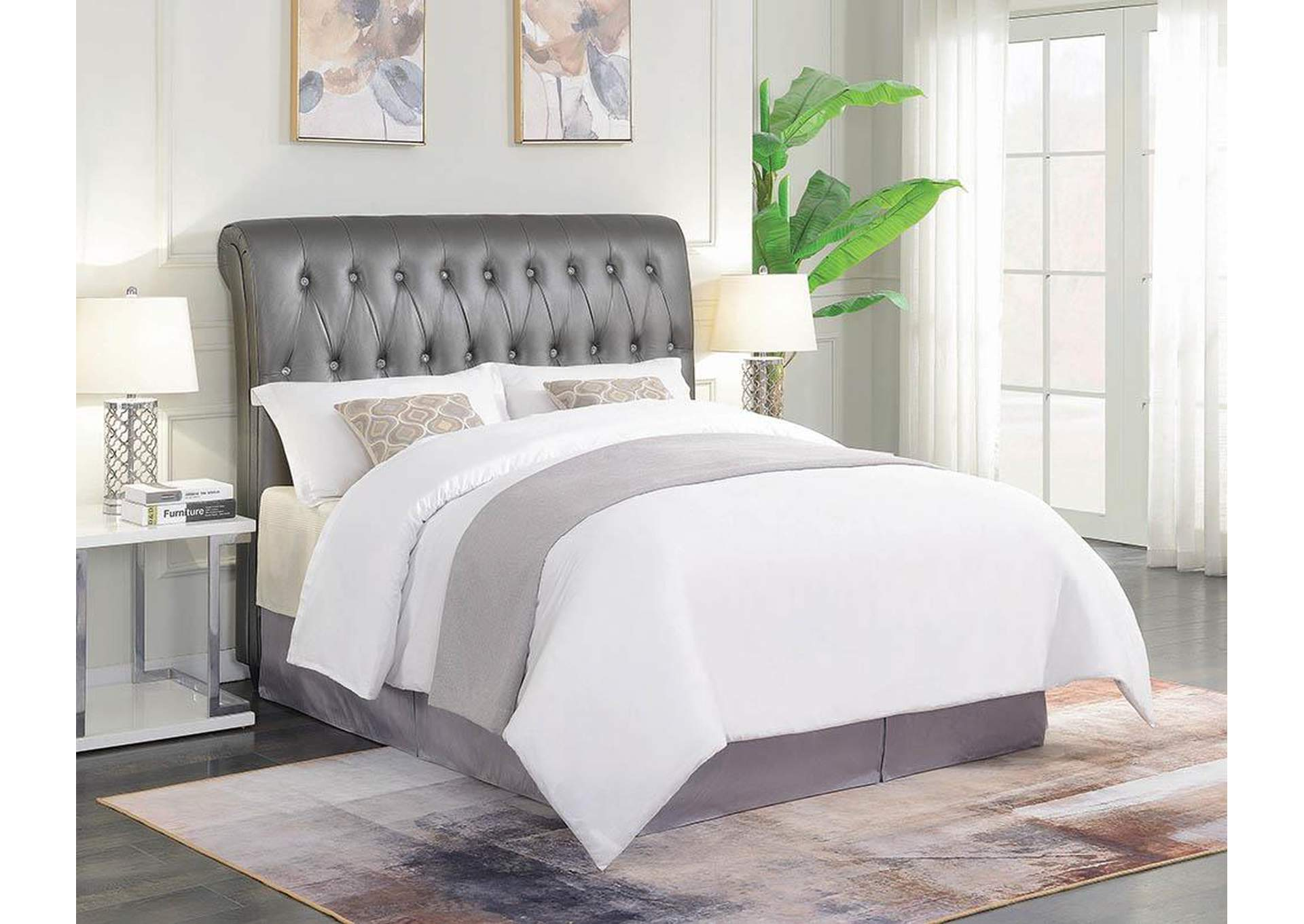Metallic Charcoal Upholstered Full Bed,Coaster Furniture