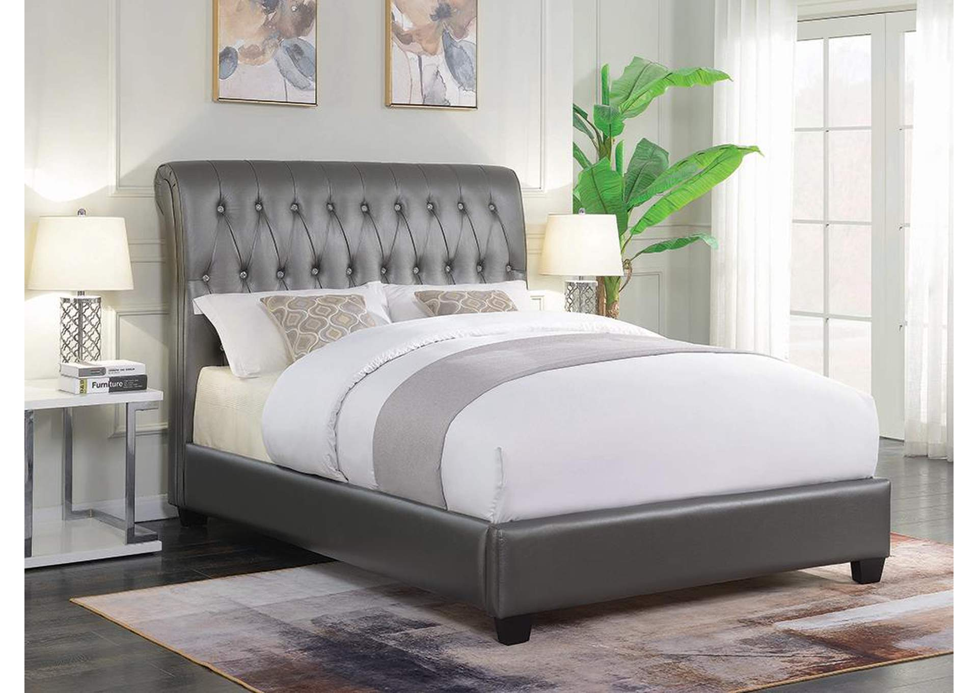 Metallic Charcoal Upholstered California King Bed,Coaster Furniture