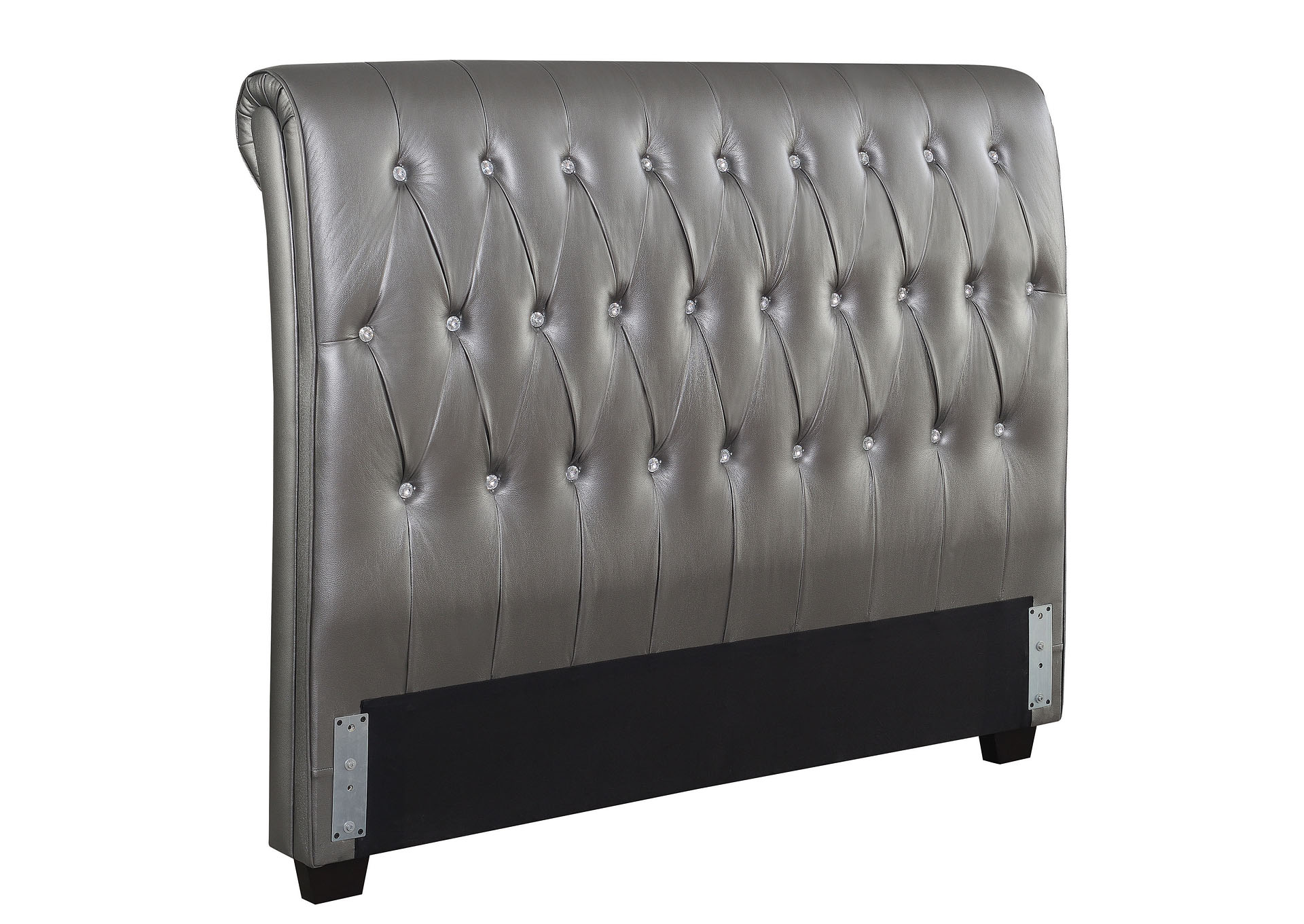 Metallic Charcoal Upholstered Queen Bed,Coaster Furniture