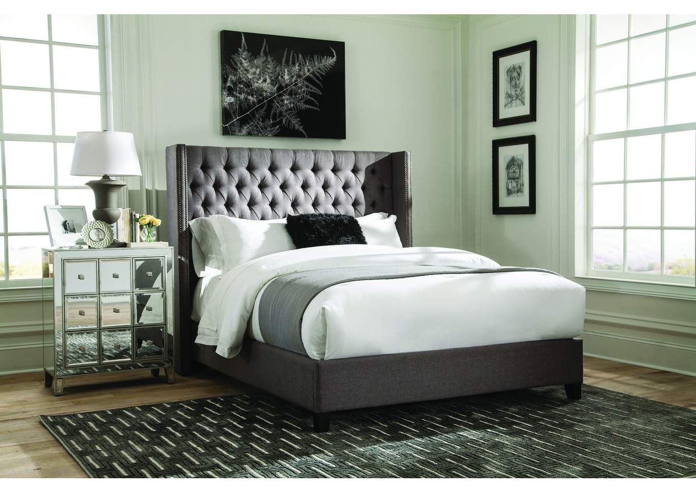 Benicia Grey Upholstered Eastern King Bed,Coaster Furniture