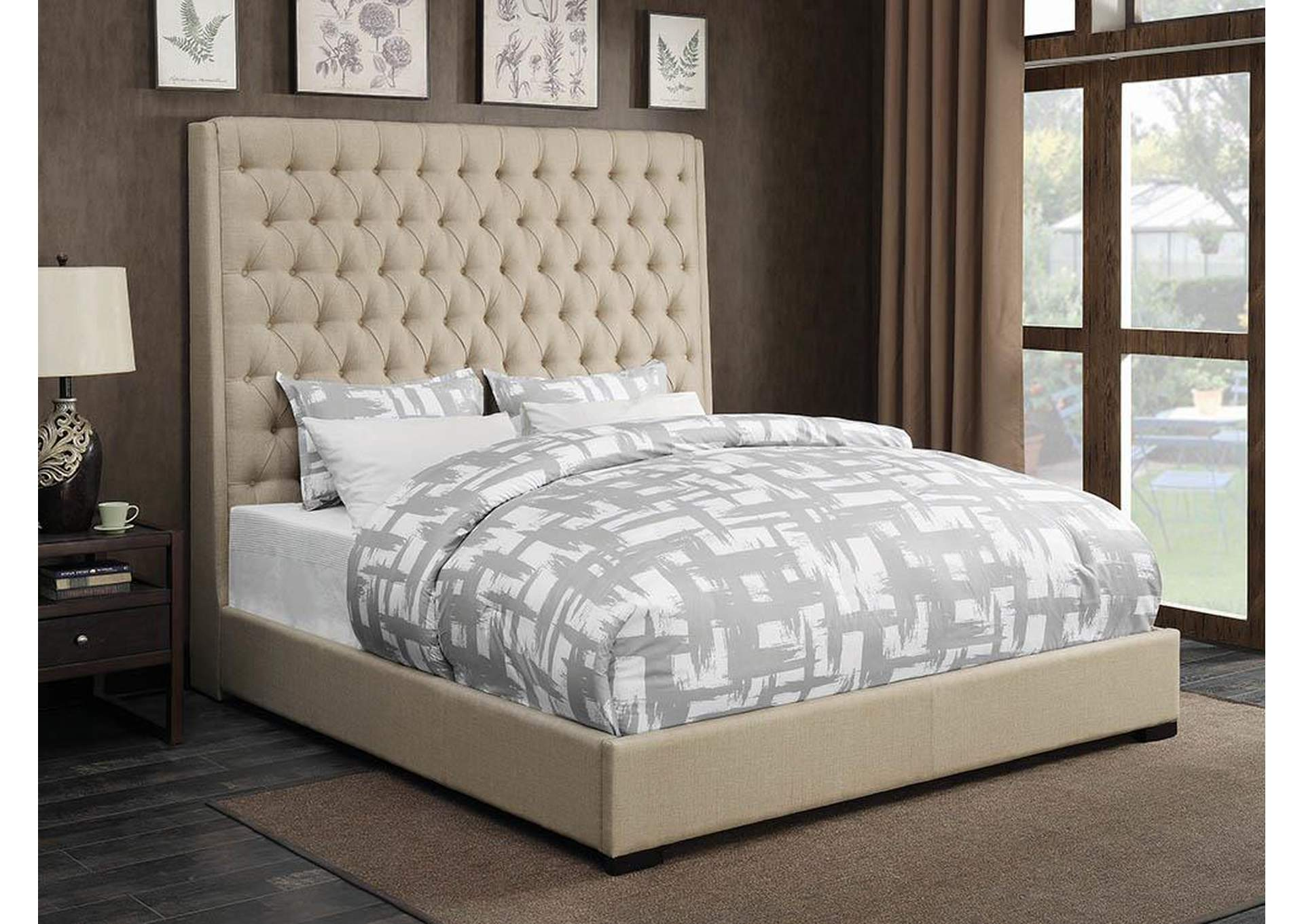 Camille Cream Upholstered Queen Platform Bed,Coaster Furniture