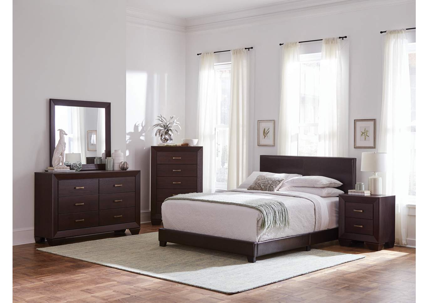 Dorian Brown & Dark Cocoa Panel California King 4 Piece Bedroom Set,Coaster Furniture