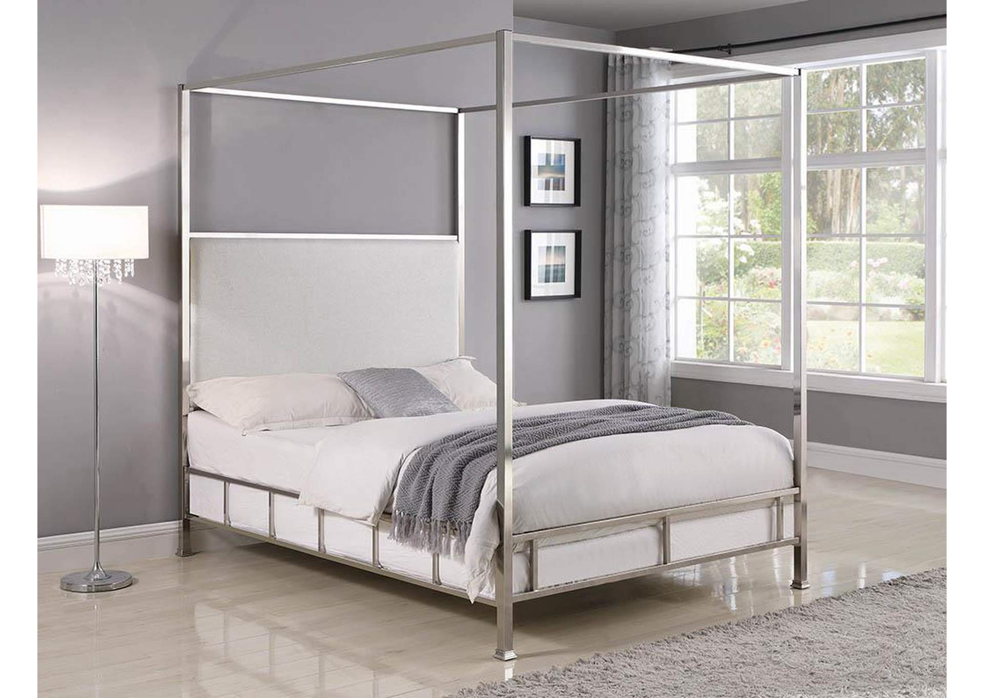 Chrome/Ivory Canopy Eastern King Bed,Coaster Furniture