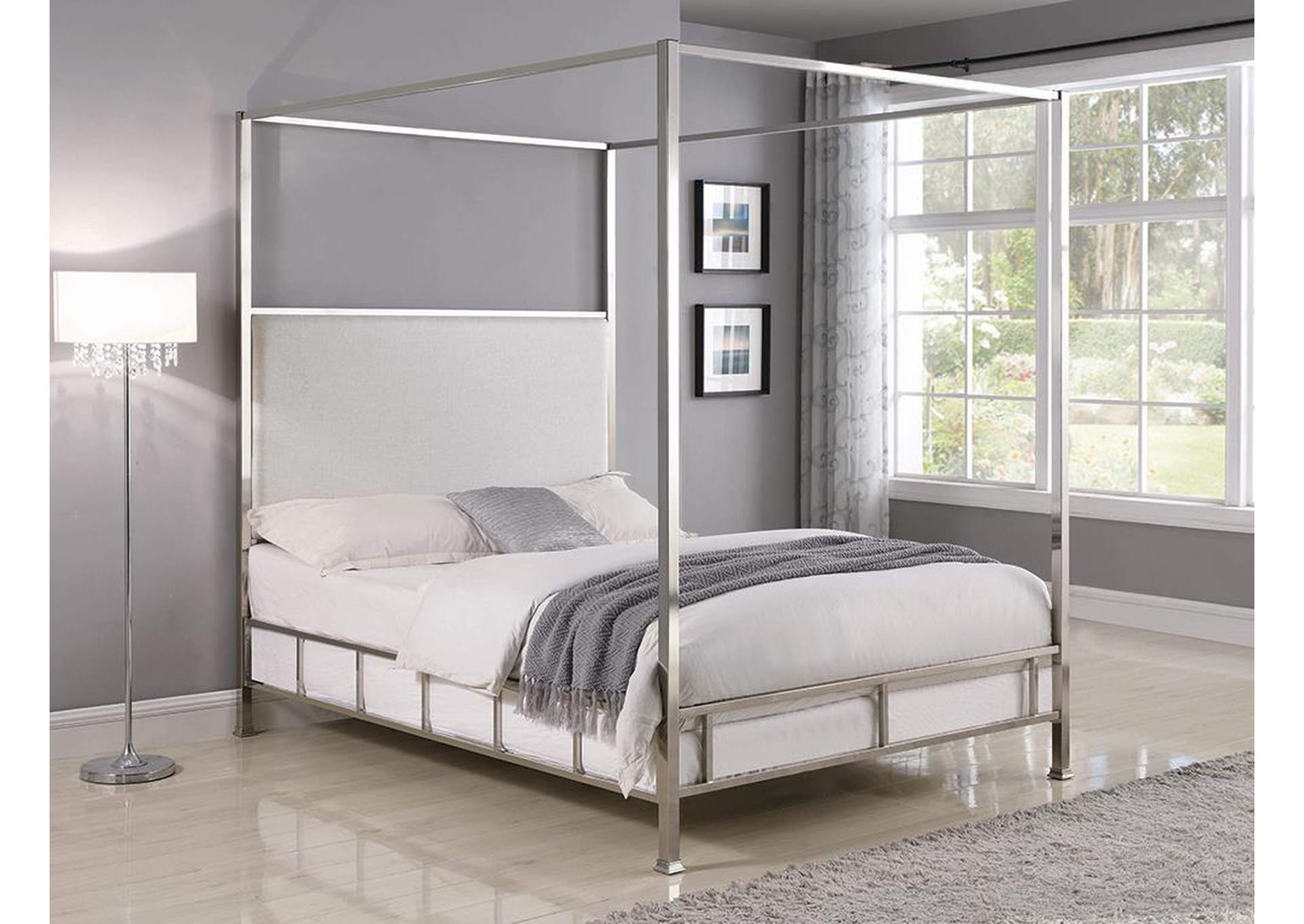 Chrome/Ivory Canopy Queen Bed,Coaster Furniture