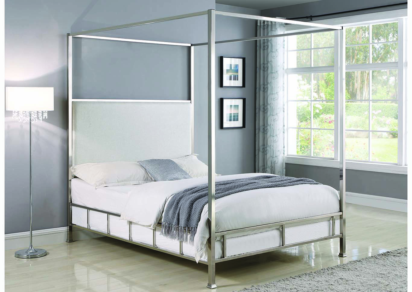 Chrome/Ivory Canopy Full BedCoaster Furniture & Big Box Furniture | Discount Furniture Stores in Miami Florida ...