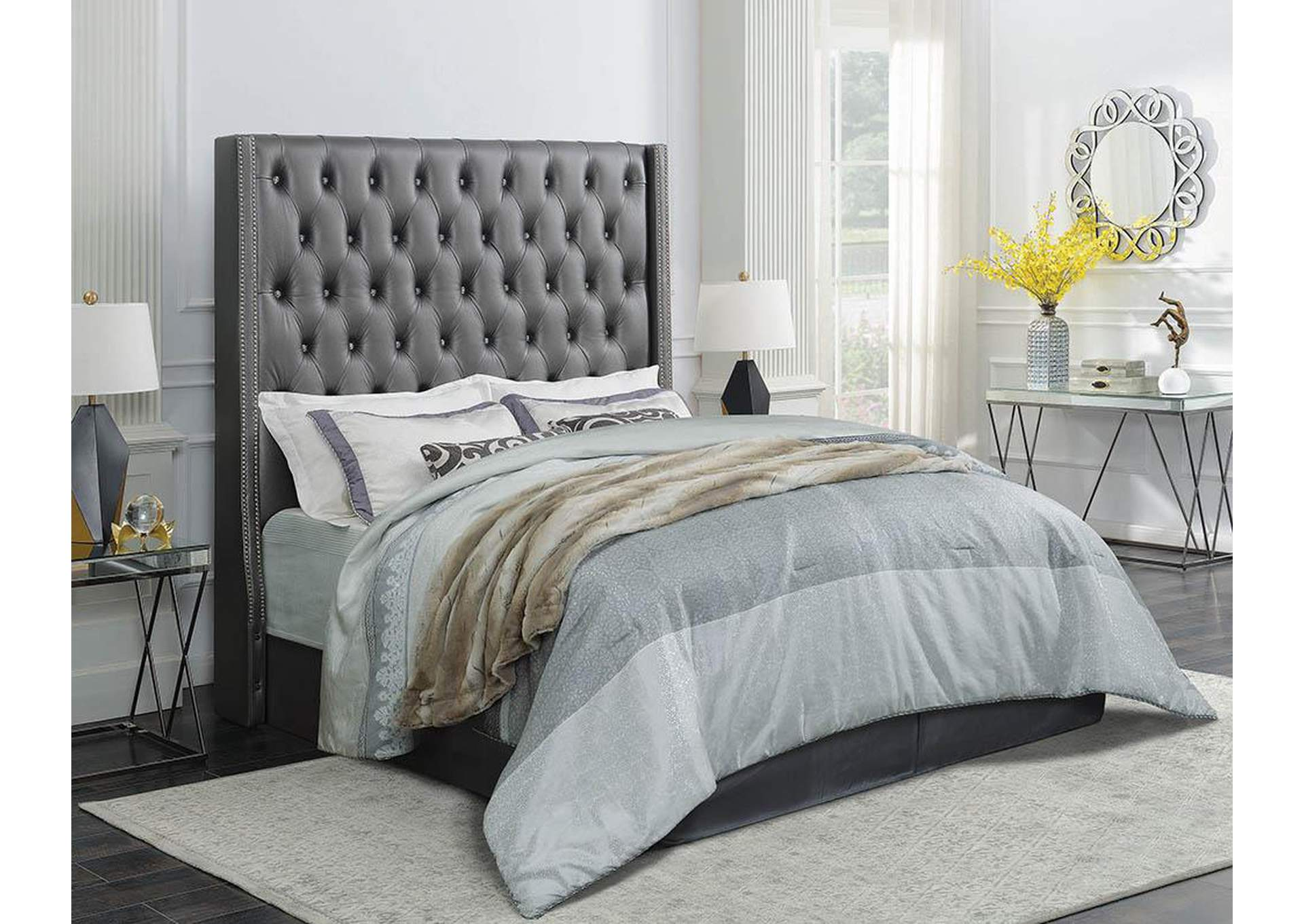 Clifton Metallic Grey Eastern King Bed,Coaster Furniture