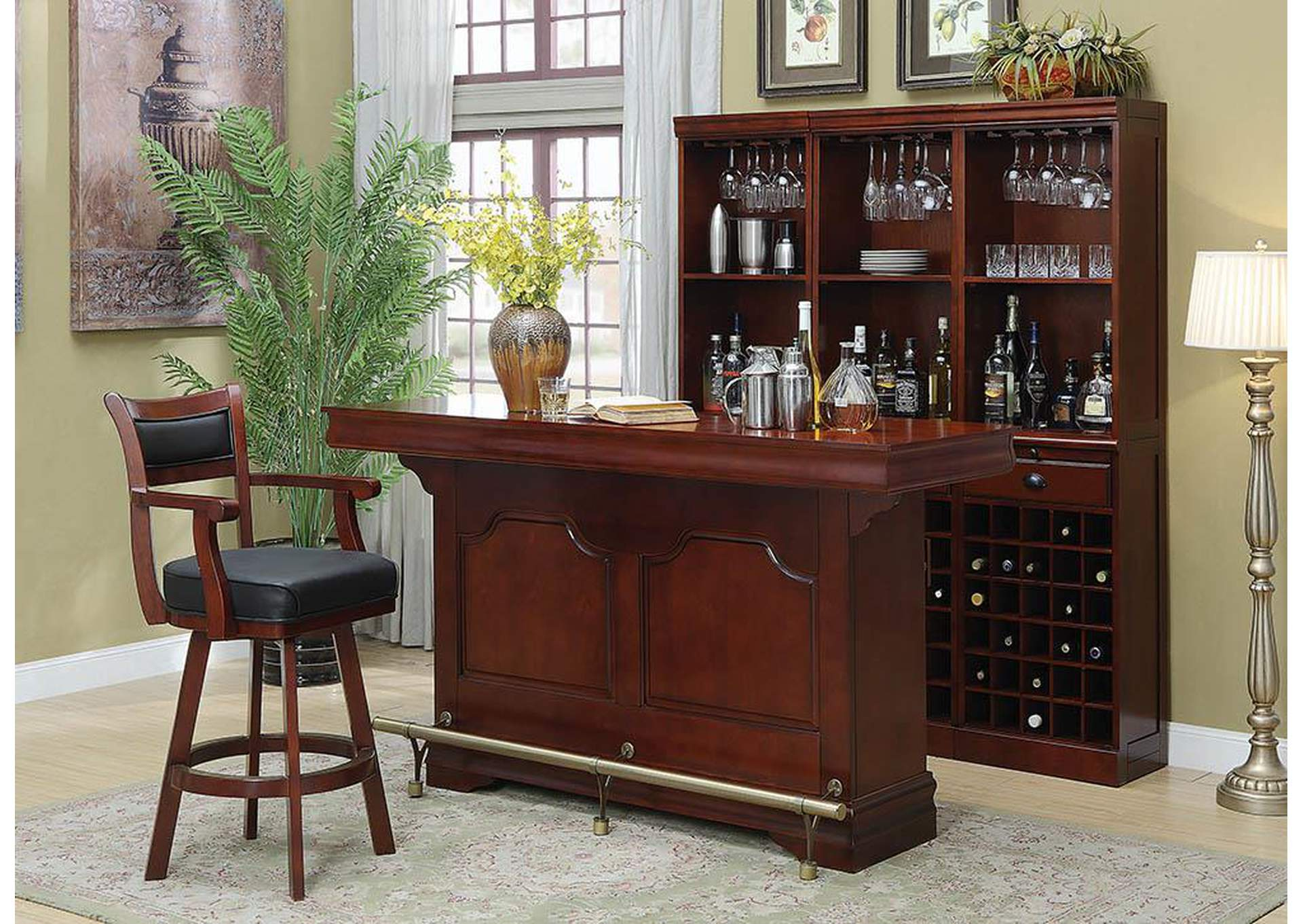 Bar Unit w/Bar Stool & Wine Wall,Coaster Furniture