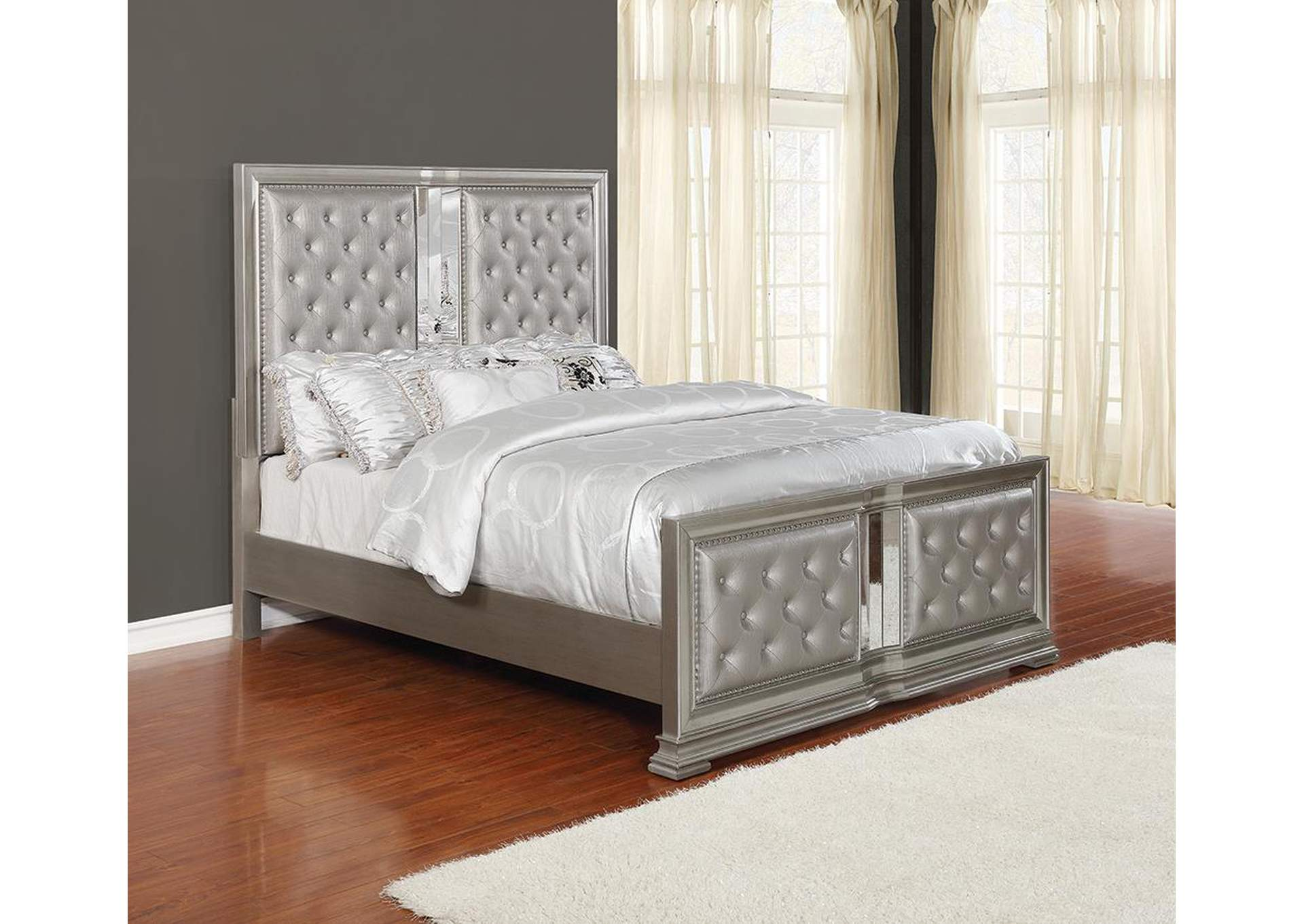 Adele Metallic Upholstered Eastern King Panel Bed,Coaster Furniture