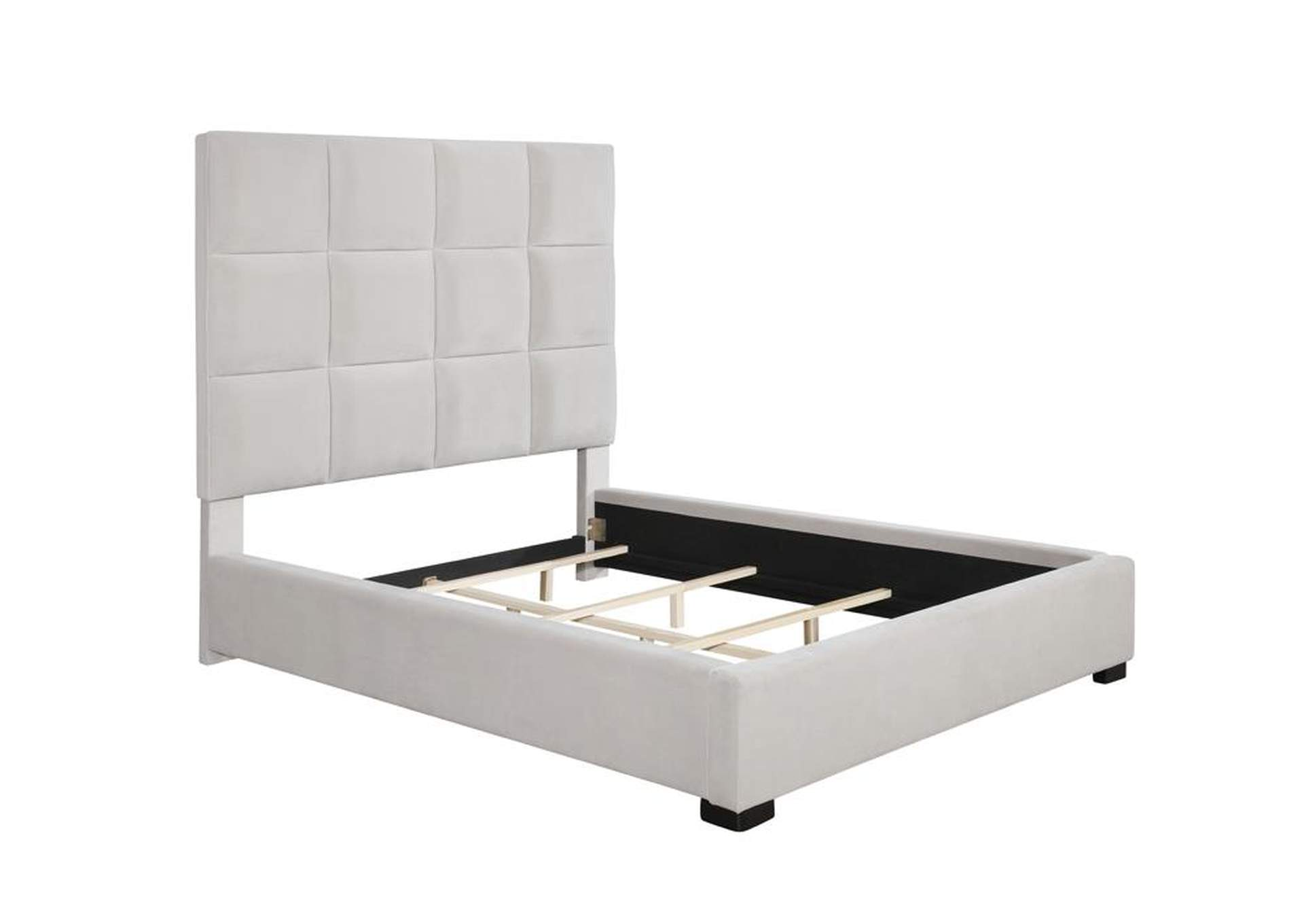 Beige Upholstered Eastern King Bed,Coaster Furniture