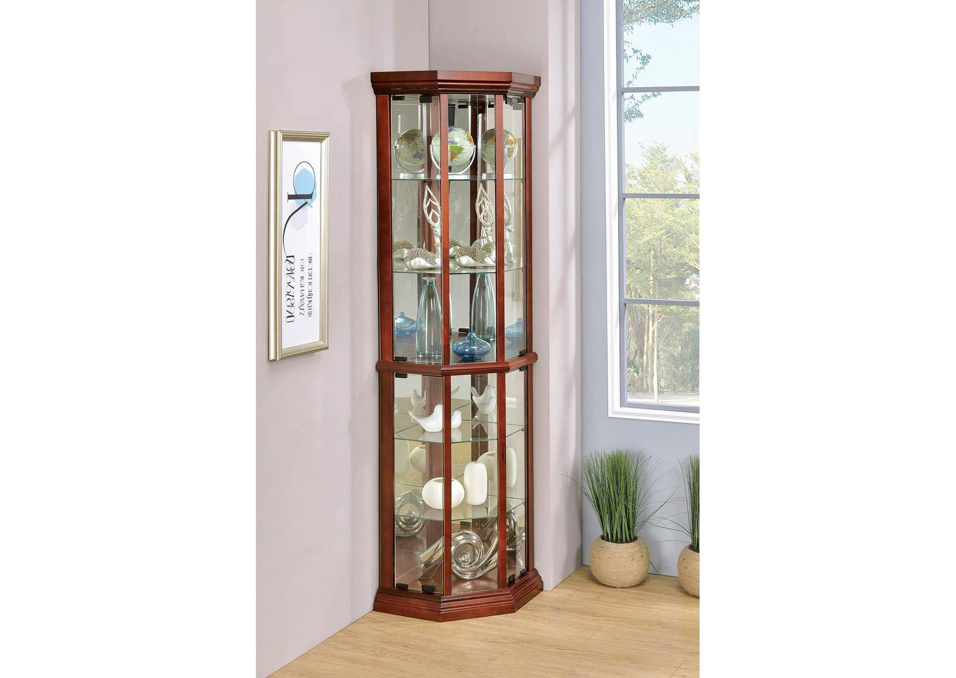Medium Brown Curio Cabinet,Coaster Furniture