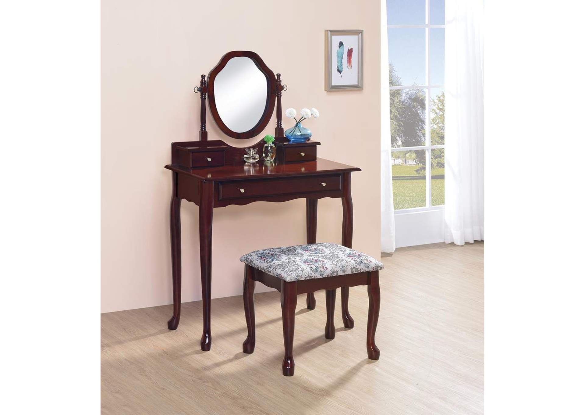 Brown-Red Vanity Set,Coaster Furniture