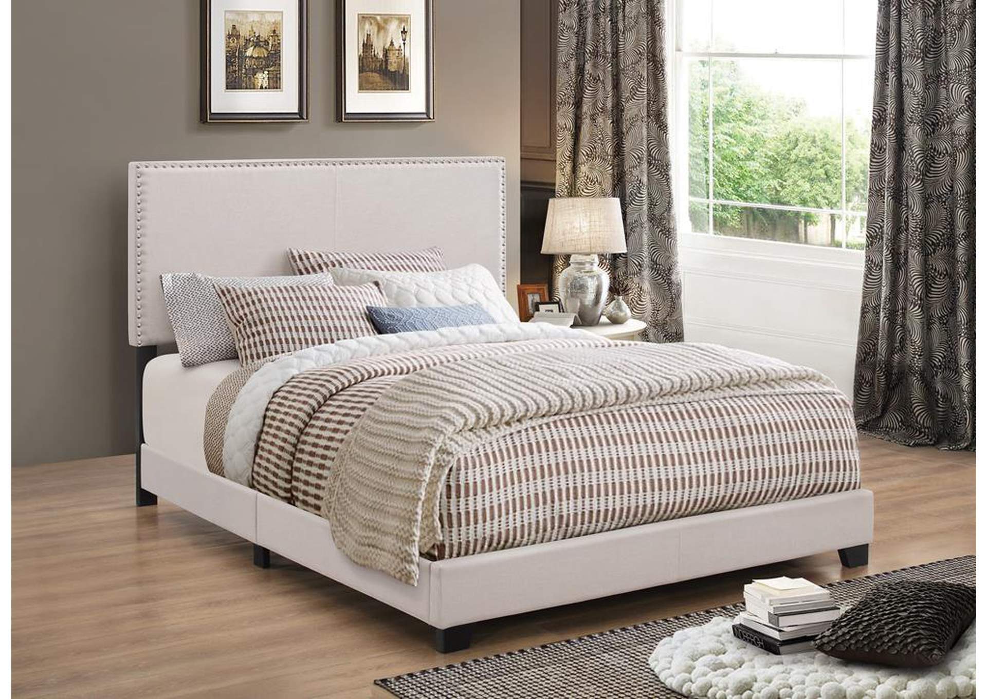 Boyd Ivory Queen Upholstered Platform Bed,Coaster Furniture